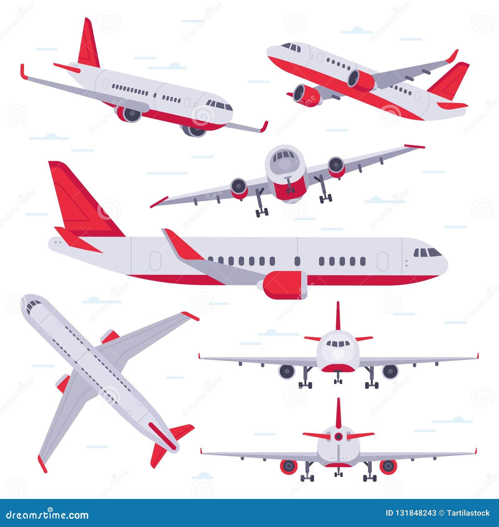 Plant flygplan Flygplanflyglopp, flygvingar och landa den flygplan isolerade vektorillustrationen