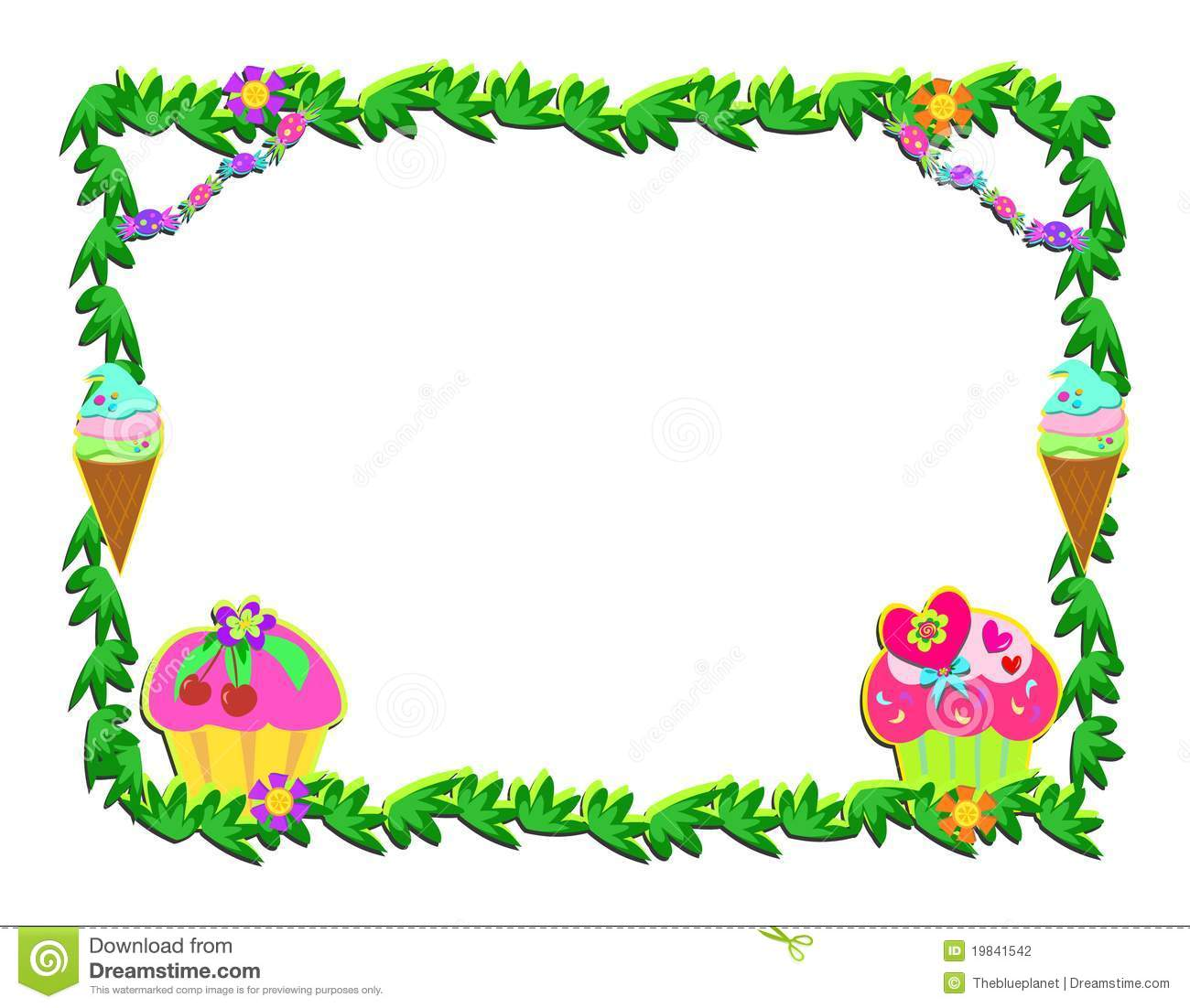 Plant Frame With Sweet Goodies Stock Photography - Image: 19841542