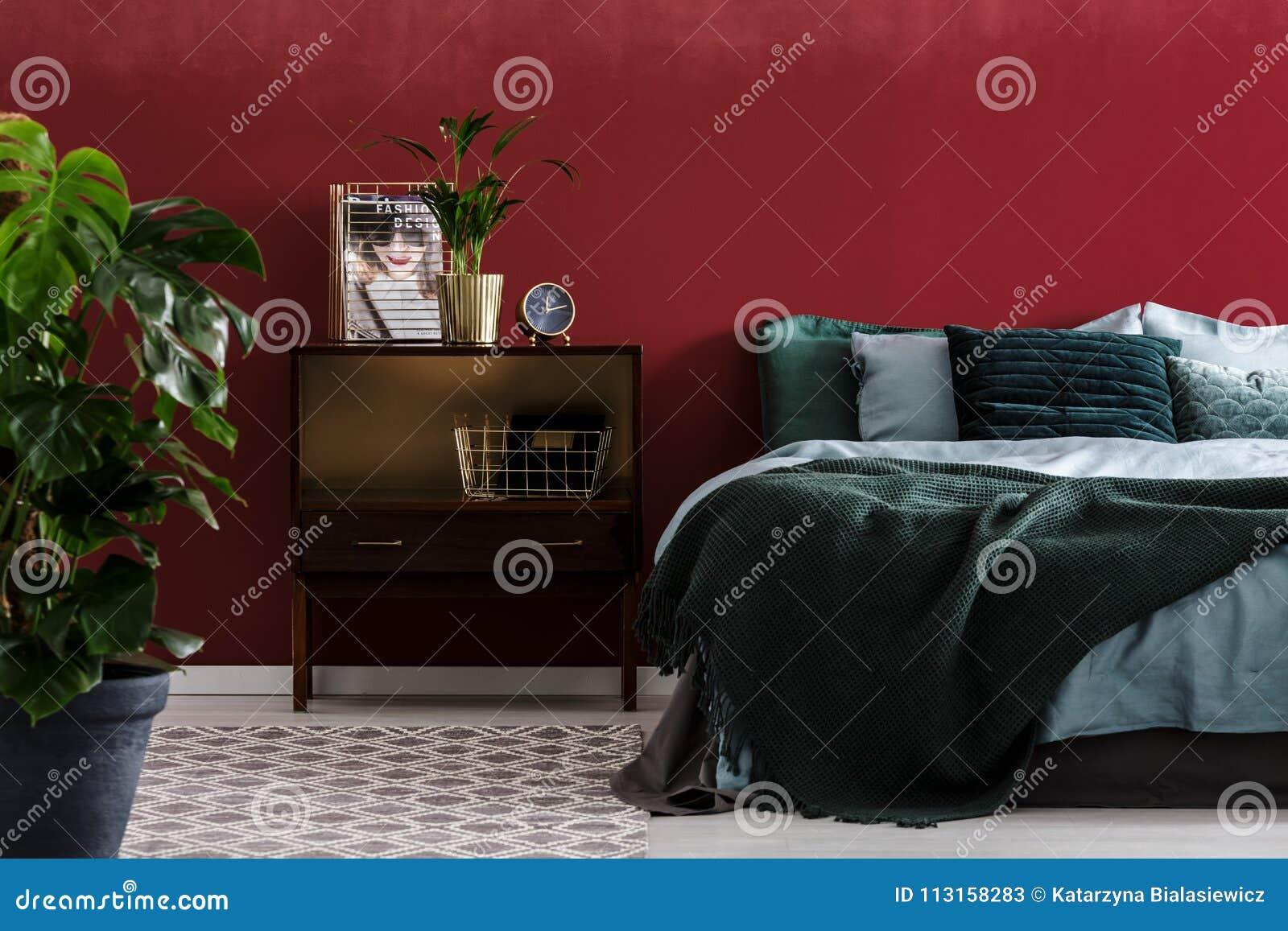 Dark Red Bedroom Interior Stock Image Image Of Cushion 113158283