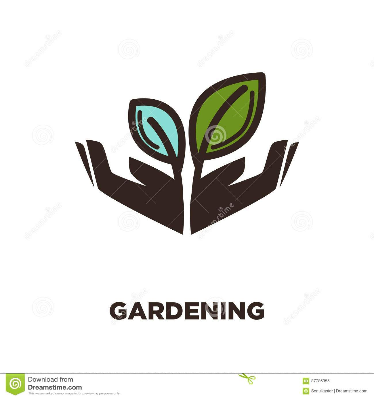 Plant Growing From Open Hands Logo Design. Two Leaves ...