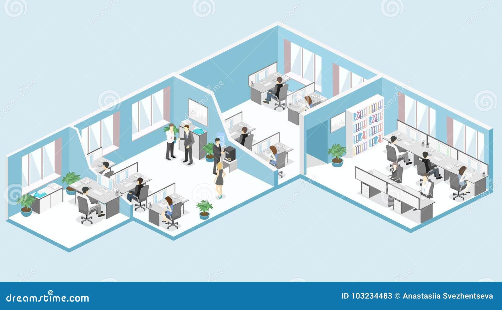 Plant isometriskt för golvinre för kontor 3d begrepp för avdelningar