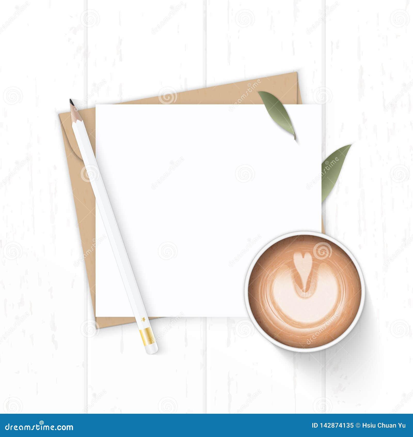 Plant lekmanna- för sammansättningsbokstav för bästa sikt elegant vitt för kraft blyertspenna och kaffe för blad för natur för ku
