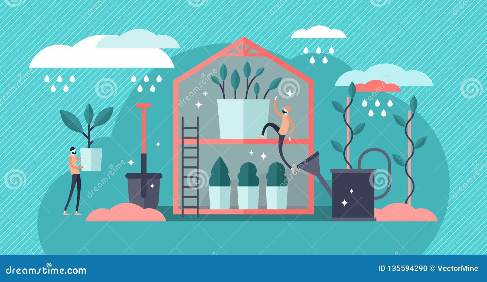 Plant Nursery Vector Illustration Flat Mini Pro Gardening Persons