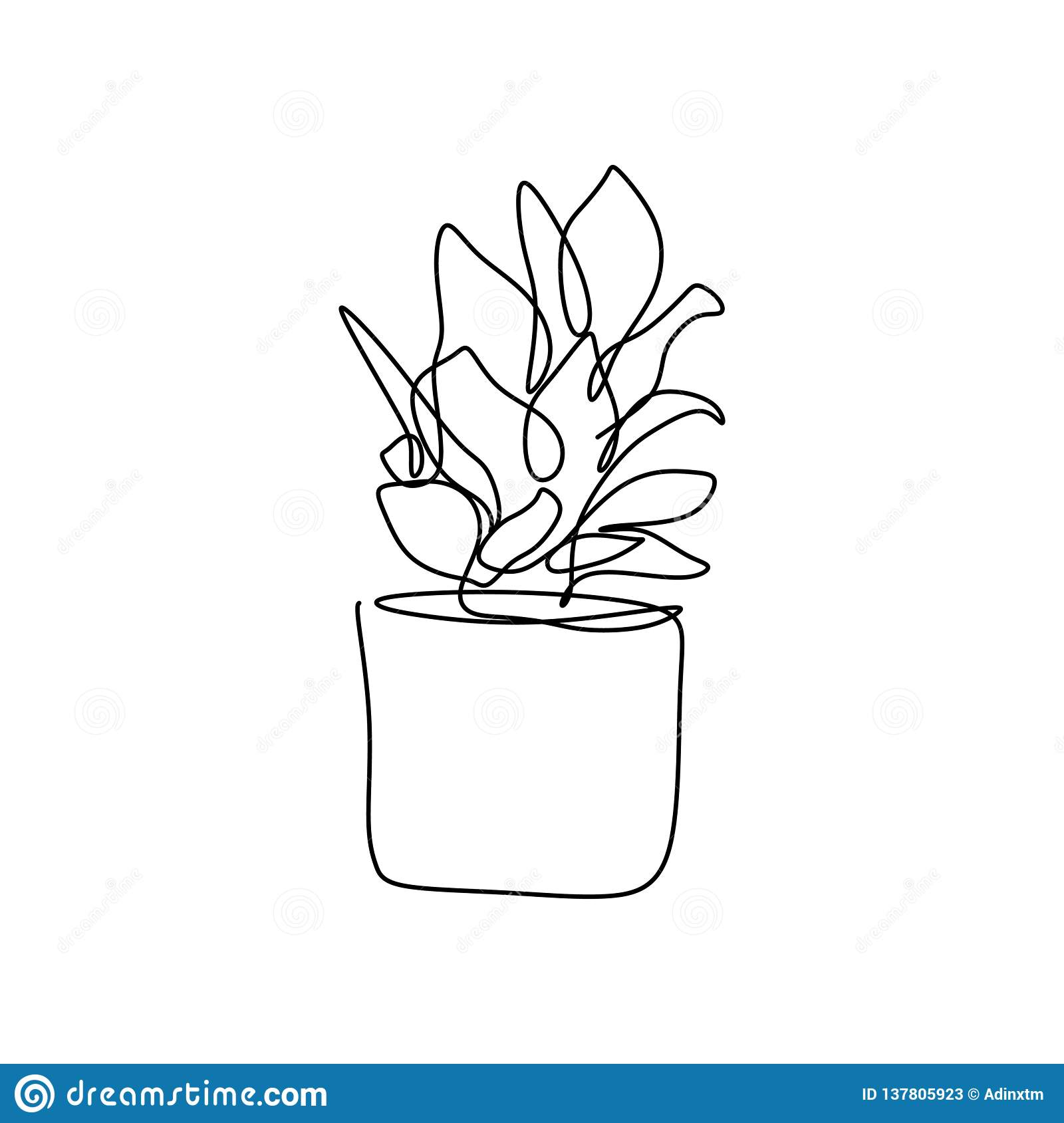 Plant In The Pot One Line Drawing Vector Illustration Continuous Stroke Minimalist Design For Wall Decor Isolated On White Stock Vector Illustration Of Graphic Sketch 137805923