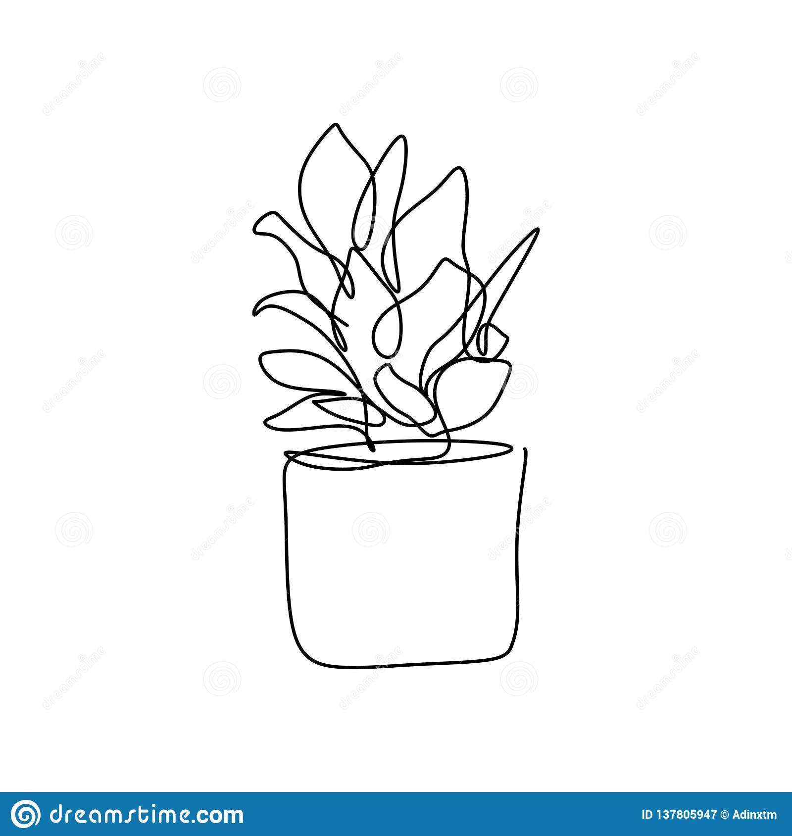 Plant In The Pot One Line Drawing Vector Illustration Continuous Stroke Minimalist Design For Wall Decor Isolated On White Stock Vector Illustration Of Line Composition 137805947