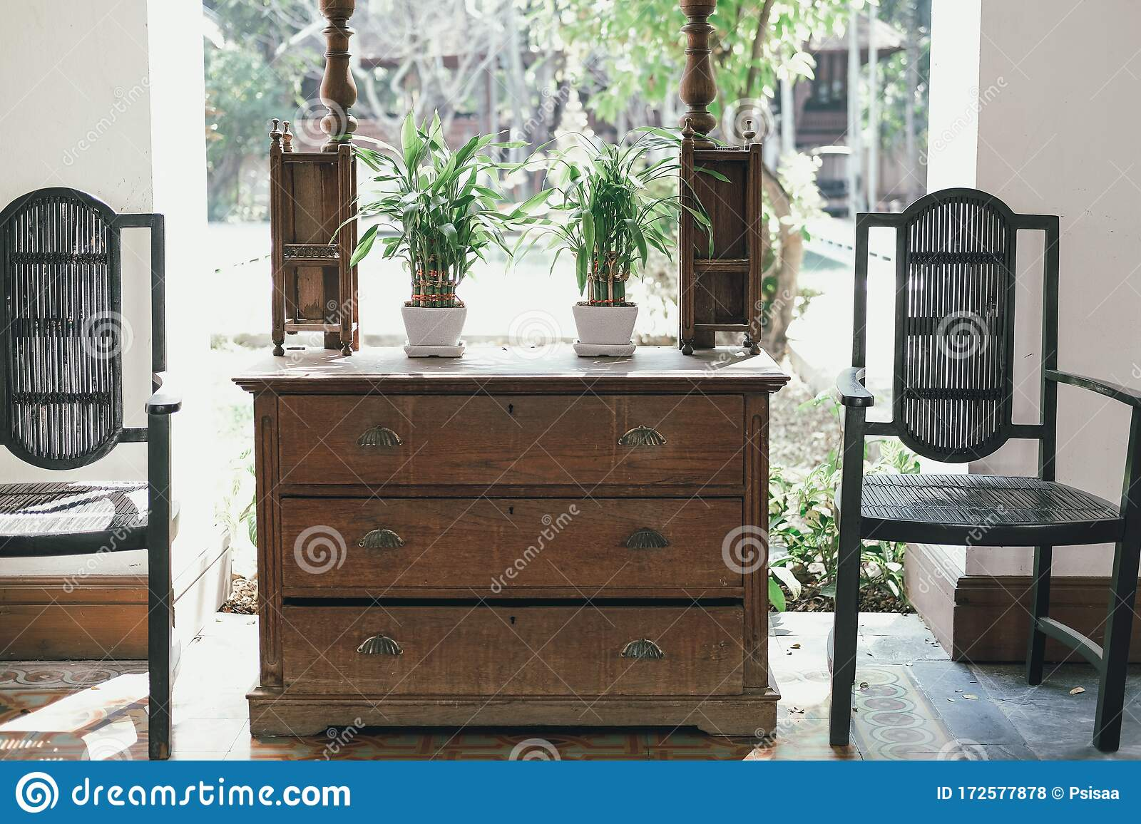 Plant Pot On Wooden Cabinet Chair In Living Room Terrace Home