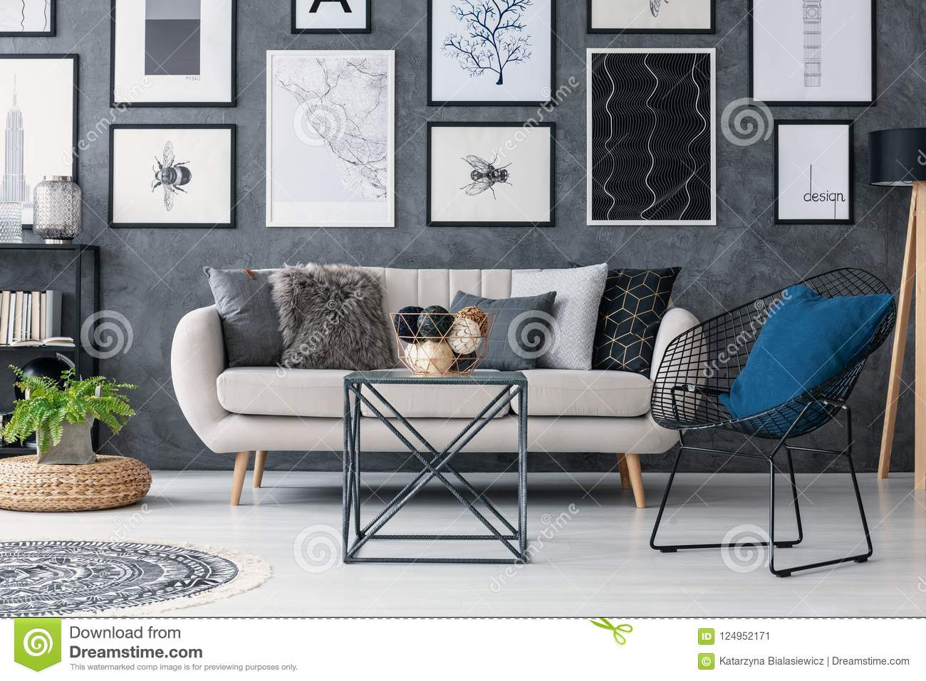 Download Plant On Pouf Next To Sofa In Grey Living Room Interior With  Table, Armchair