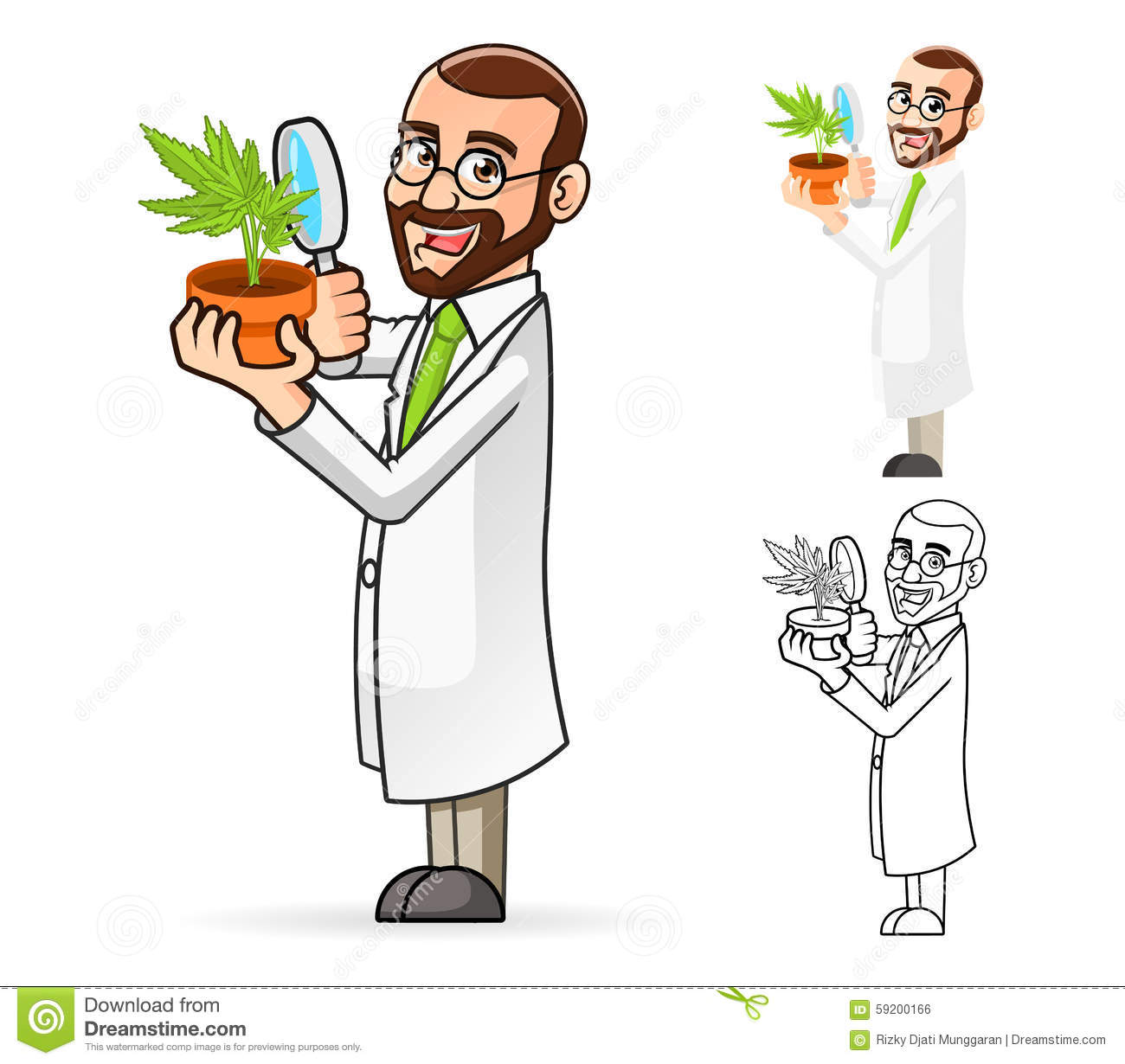 Plant scientist cartoon character looking at a
