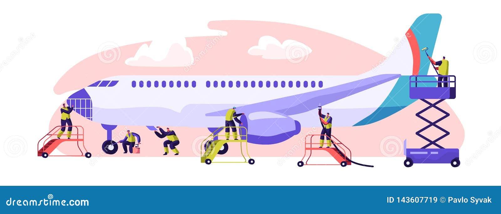 Plant servicebaner Flygplansunderhåll, kontroll och reparation Kapacitet av uppgiften som krävs för att se till att fortsätta luf