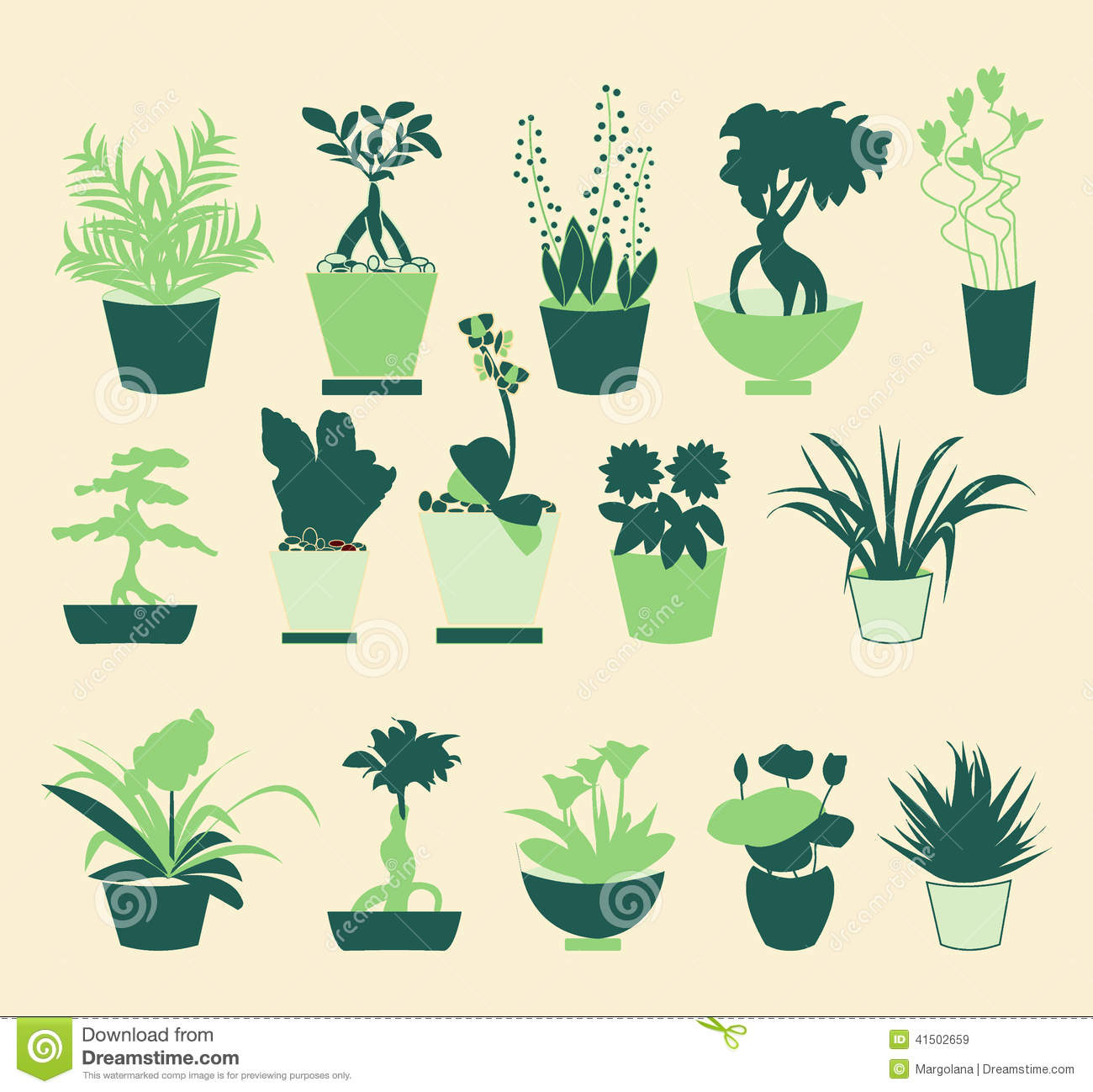 Plant Silhouette Collection Illustration Stock Vector