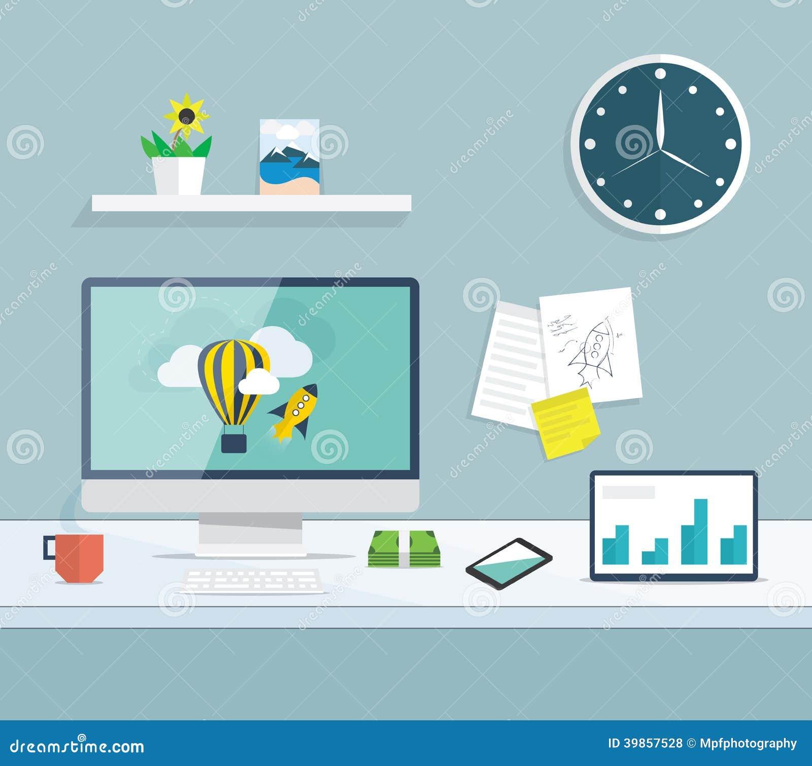 Plant skrivbord av utveckling för rengöringsduk och för grafisk design