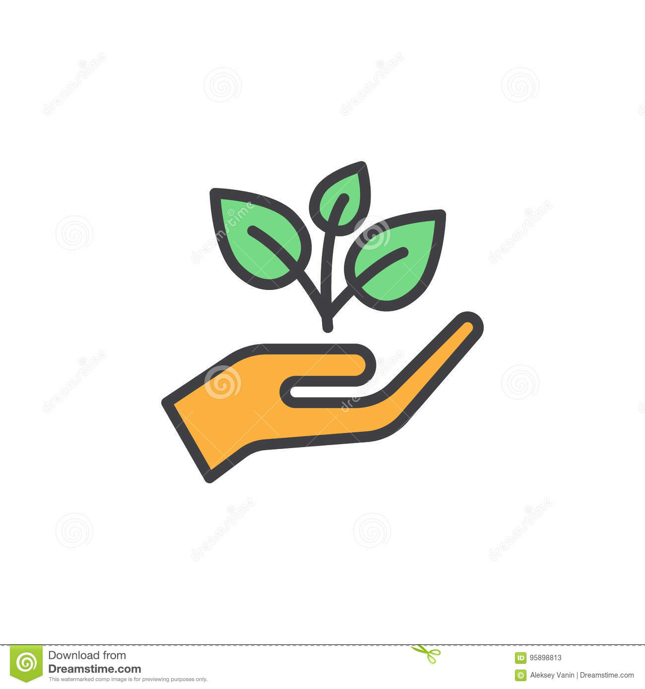 Plant, sprout in a hand filled outline icon, line vector sign, linear colorful pictogram