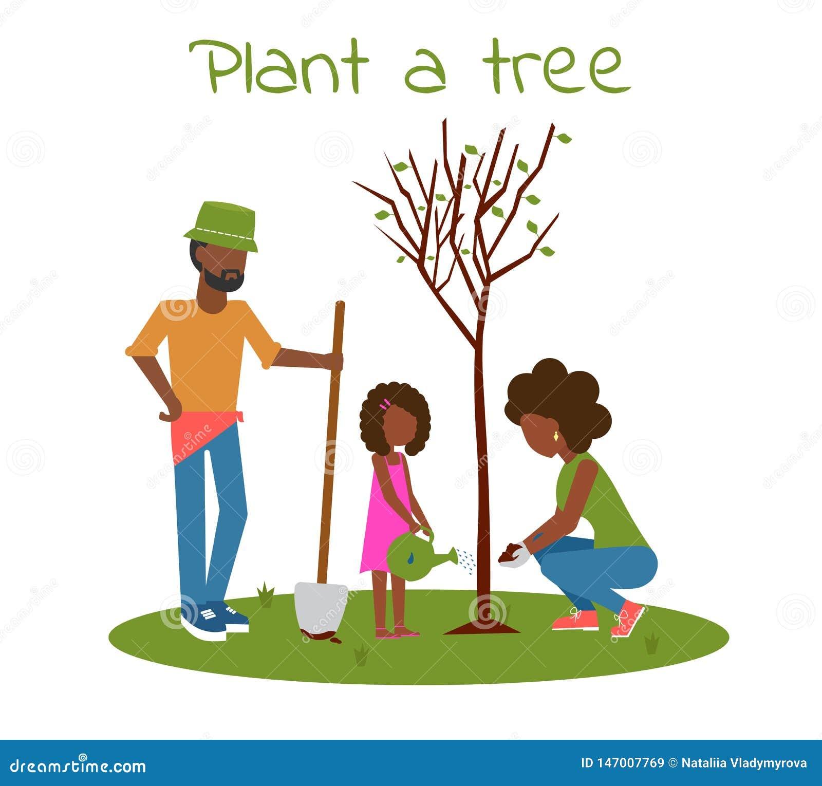 Plant a tree afro happy family