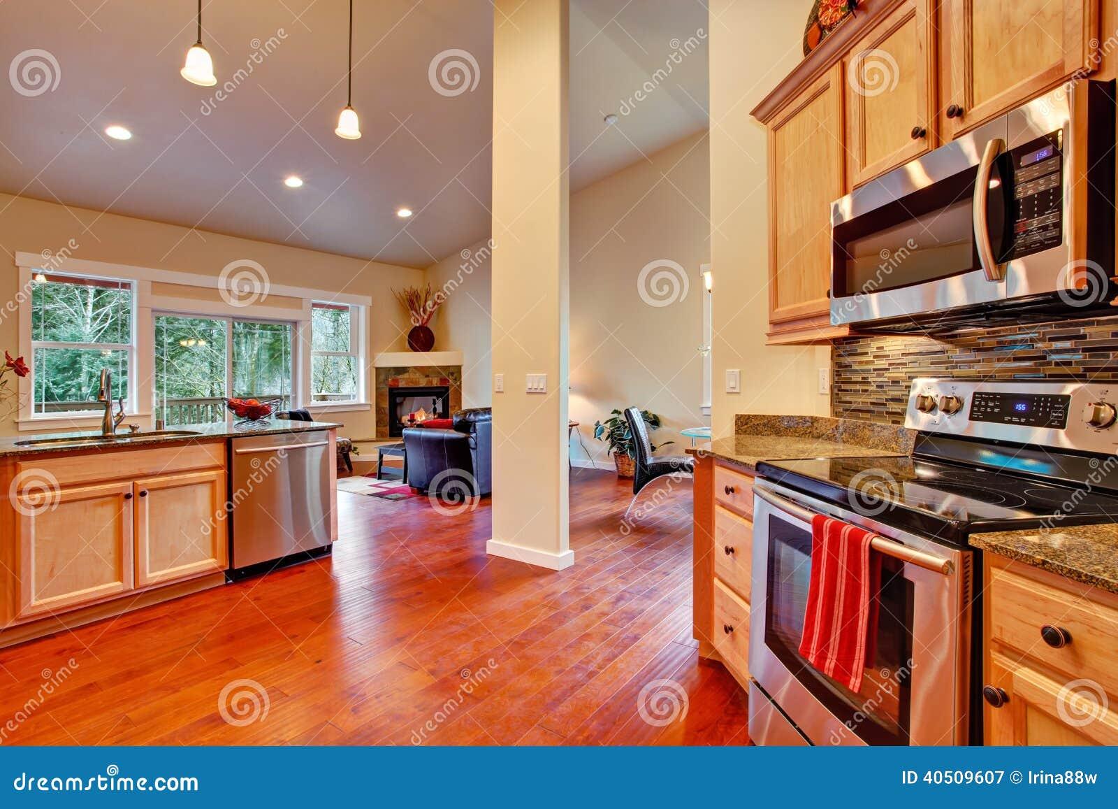 Planta Baixa Aberta Do Interior Da Casa Rea Da Cozinha Imagem De