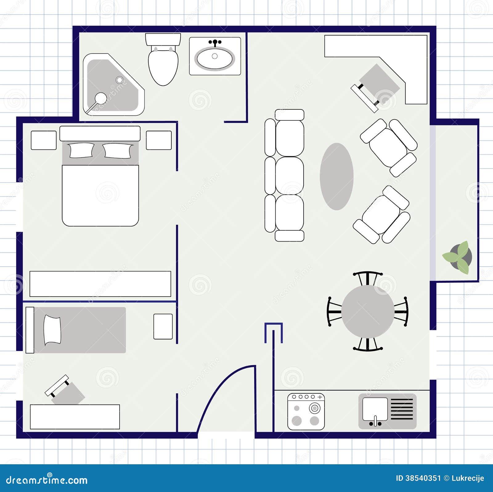 Floor Plan Bathroom Symbols Planta Baixa Com Mob 237 Lia No Papel Imagem De Stock Imagem