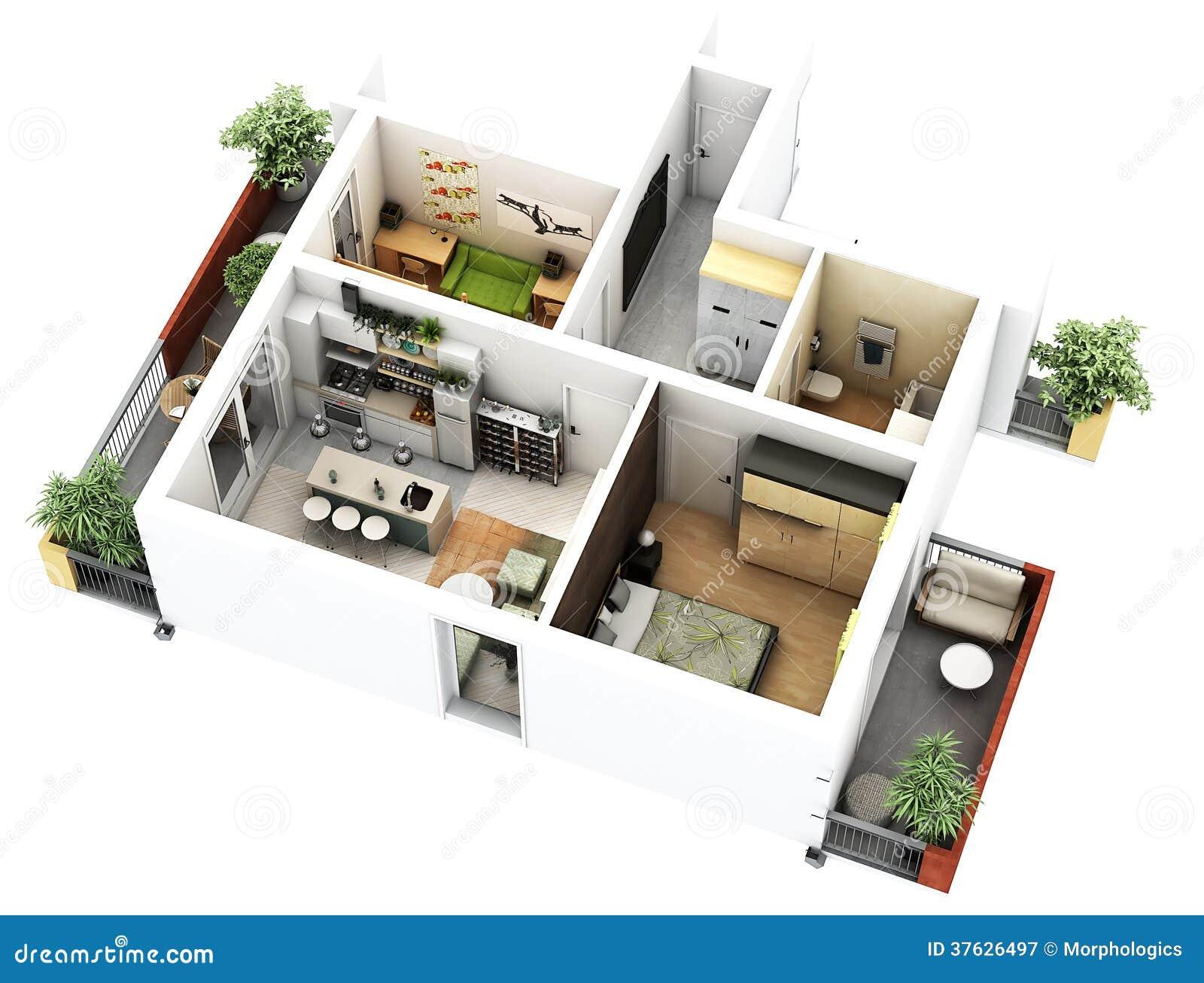 Planta baixa 3d ilustra o stock ilustra o de constru o for Layout di casa di design online gratuito