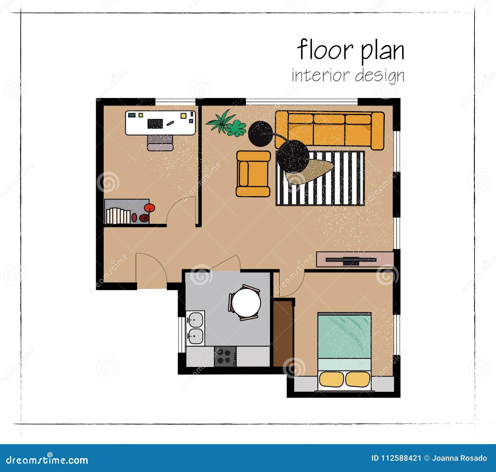 Planta baixa do design de interiores do vetor opini o superior da casa home elementos ajustados - Corso interior design on line ...
