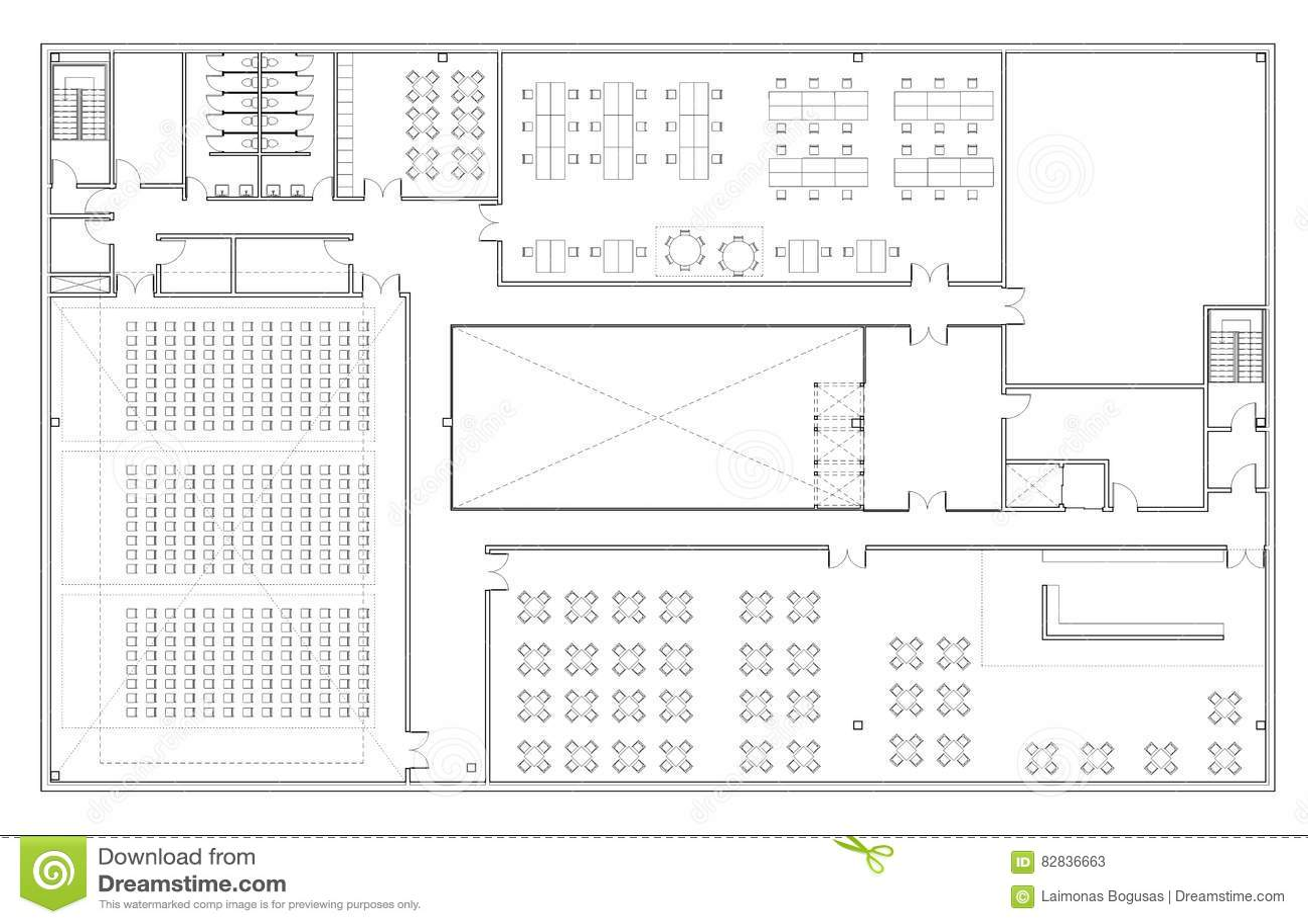 Fabuloso Planta Baixa Do Prédio De Escritórios Ilustração Stock  GN61
