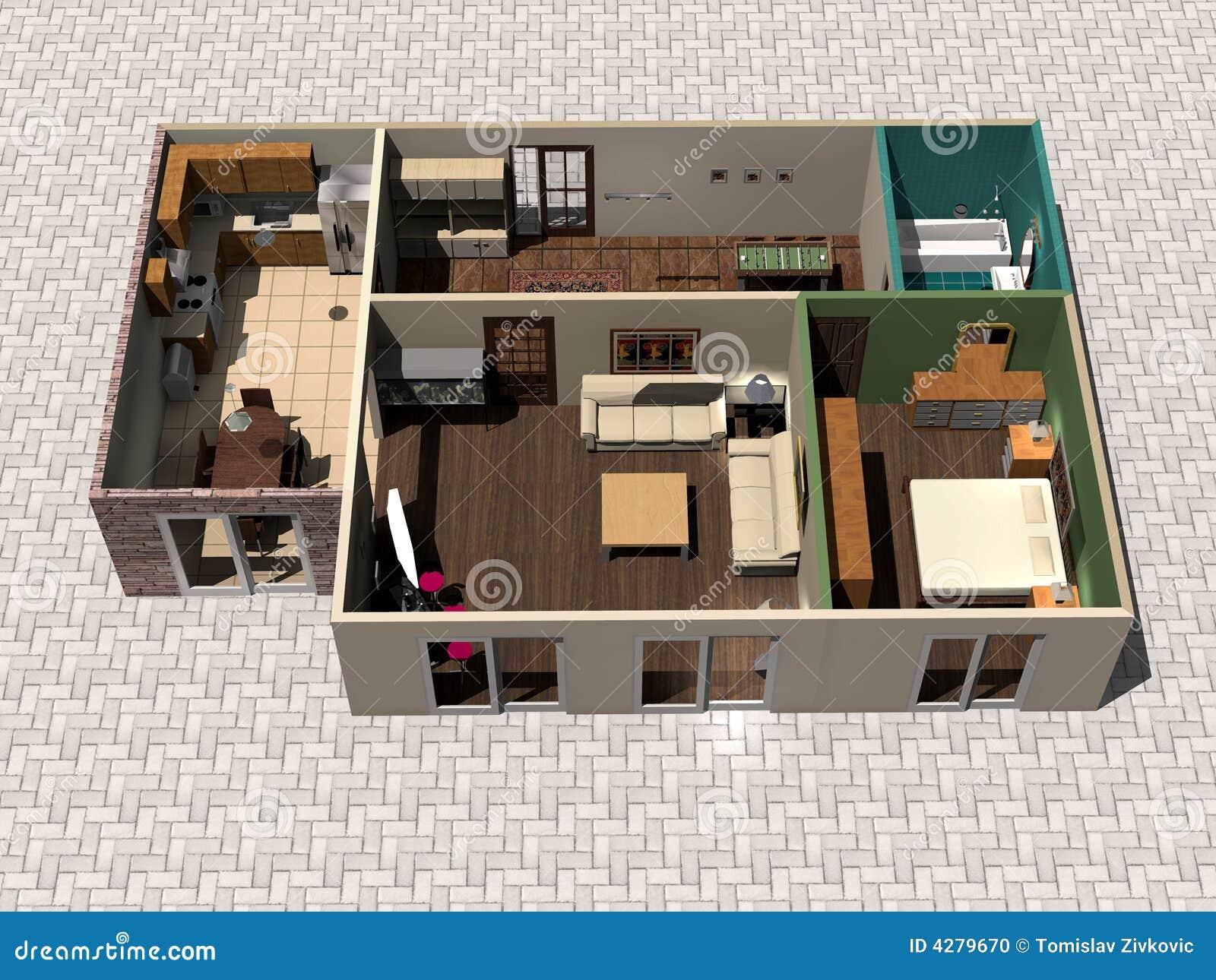 Planta Da Casa 3d Ilustra O Stock Ilustra O De Melhoria