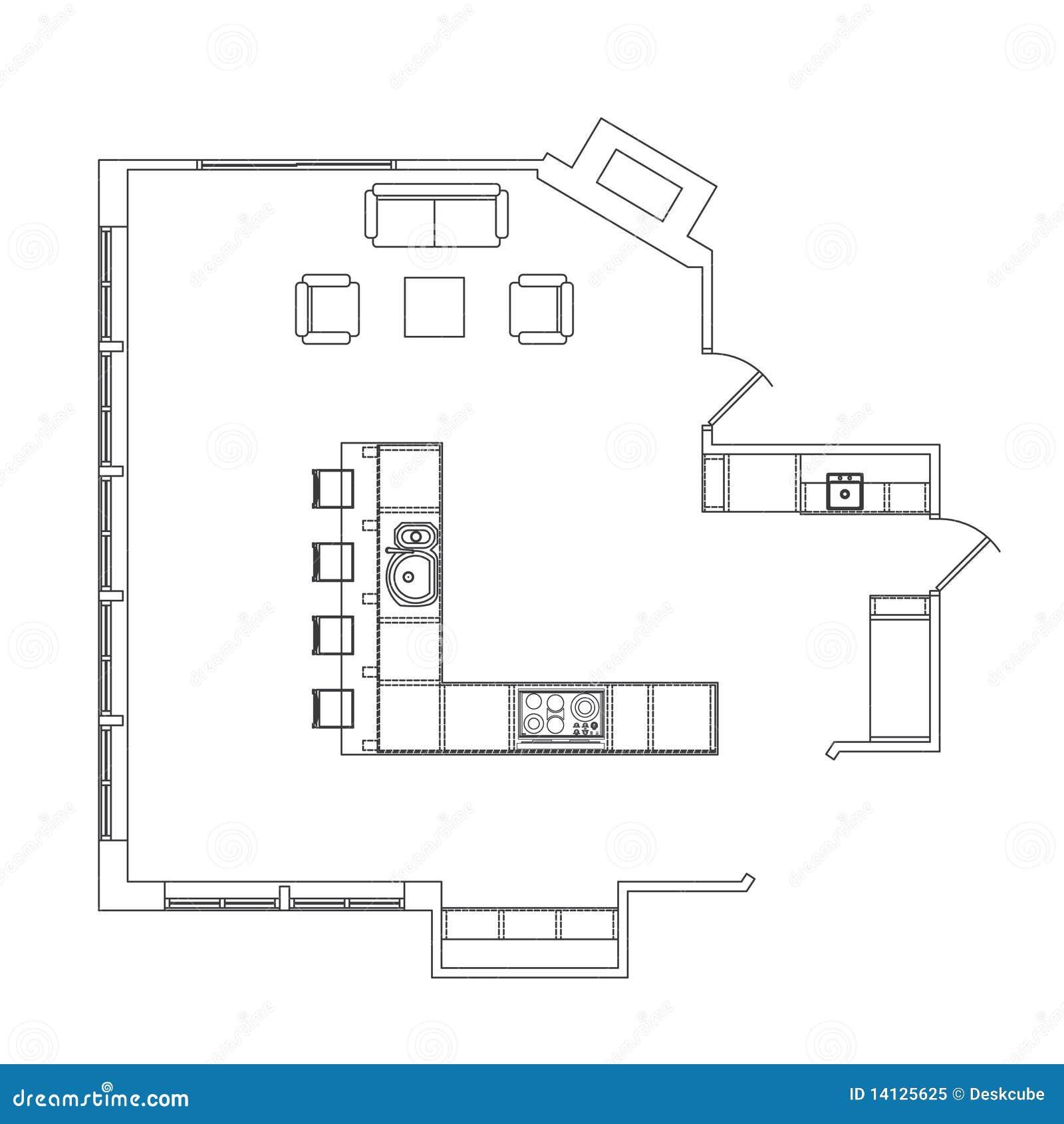 Planta Da Cozinha Foto de Stock Royalty Free Imagem: 14125625 #84A526 1300 1390