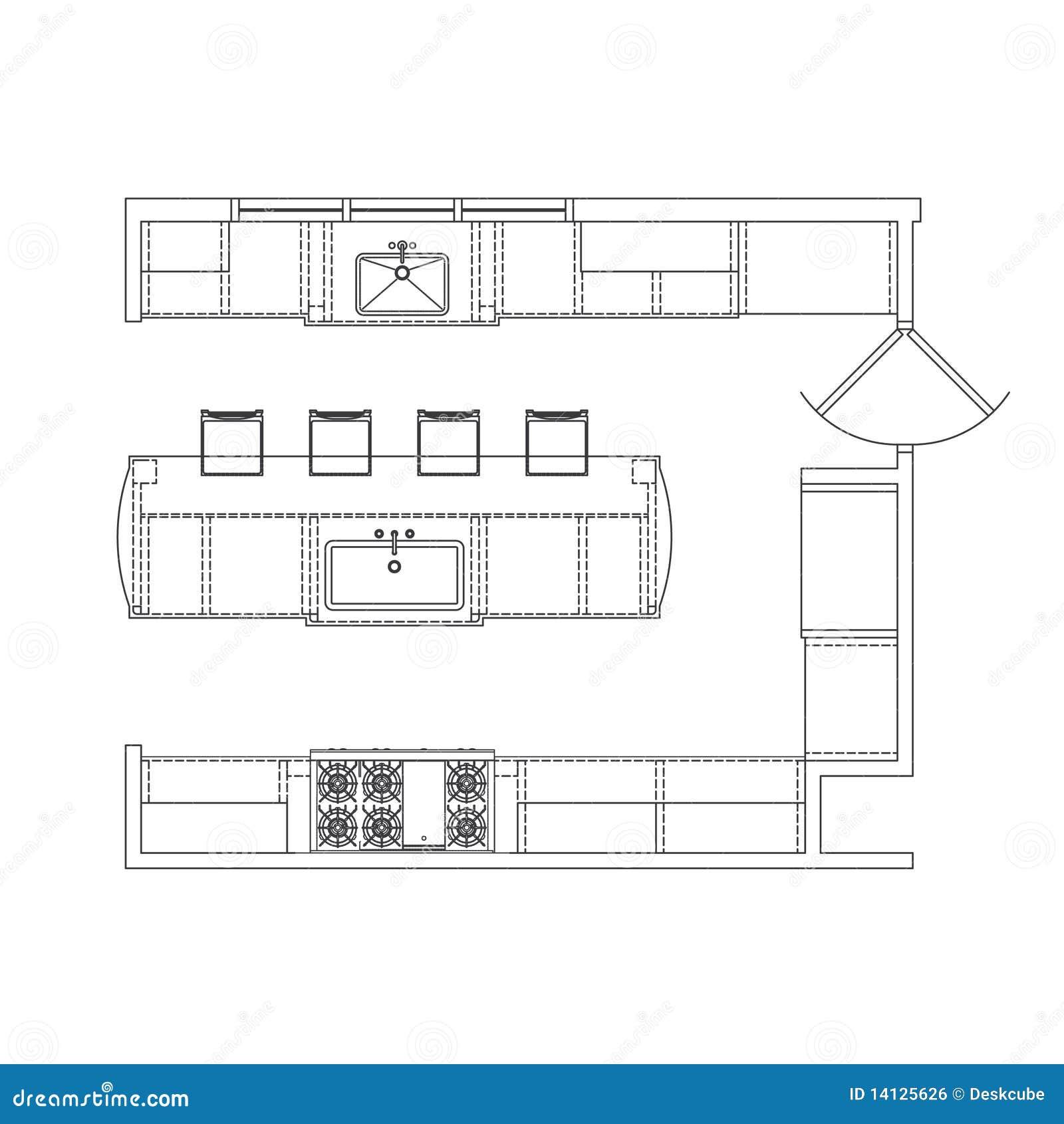 Planta Da Cozinha Imagem de Stock Royalty Free Imagem: 14125626 #84A526 1300 1390