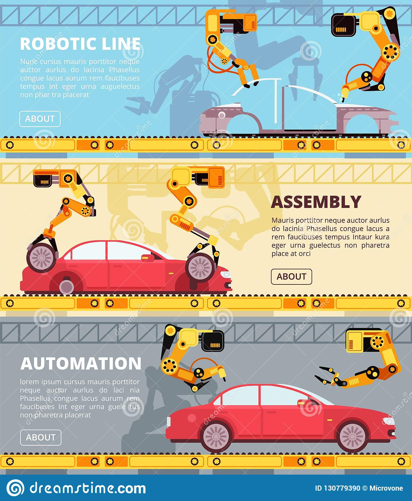 Planta de fabricación de la industria automovilística Fábrica auto de la producción con los robots industriales Sistema de fabric
