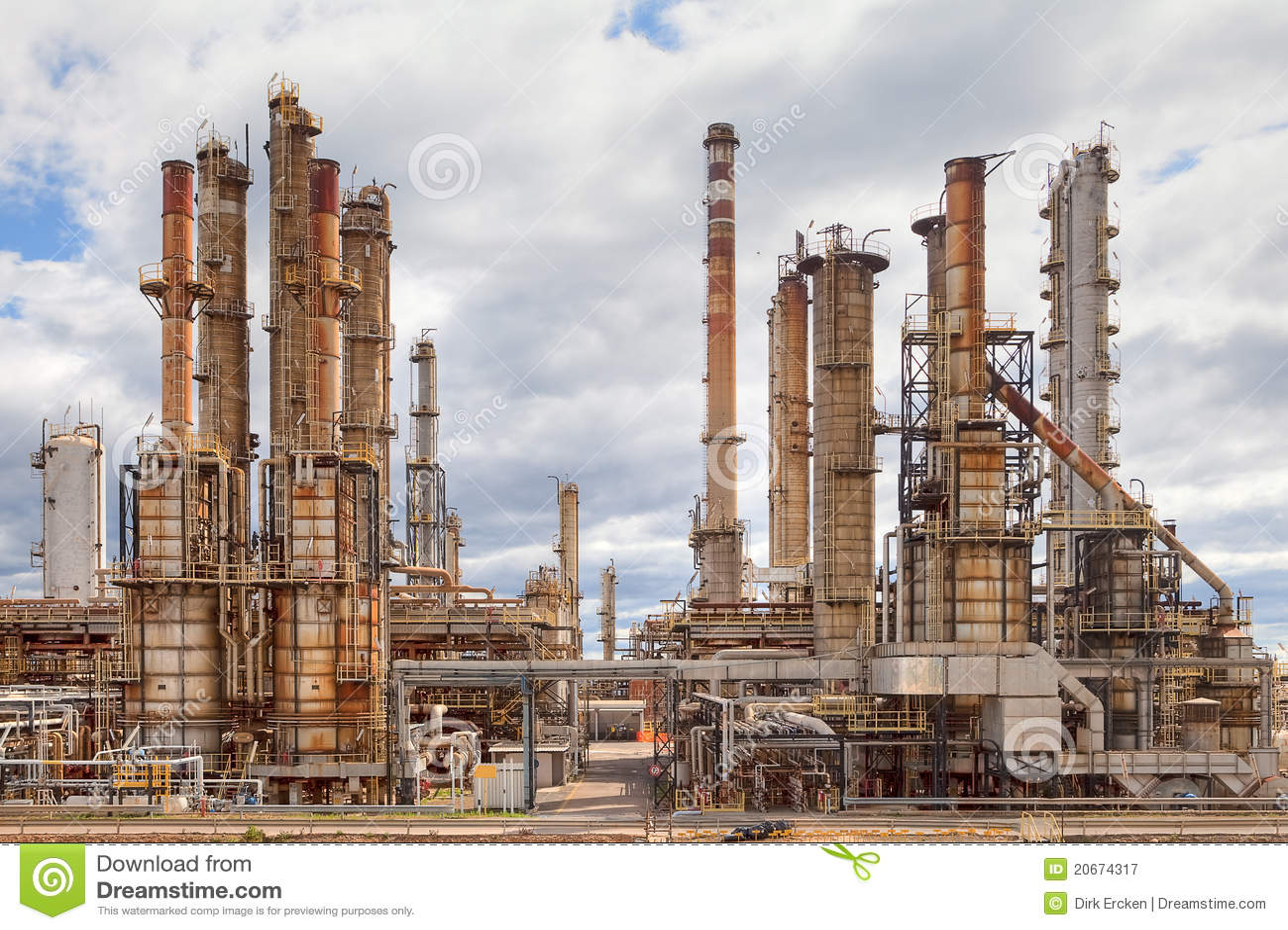 Planta de la industria petroquímica de la refinería de petróleo