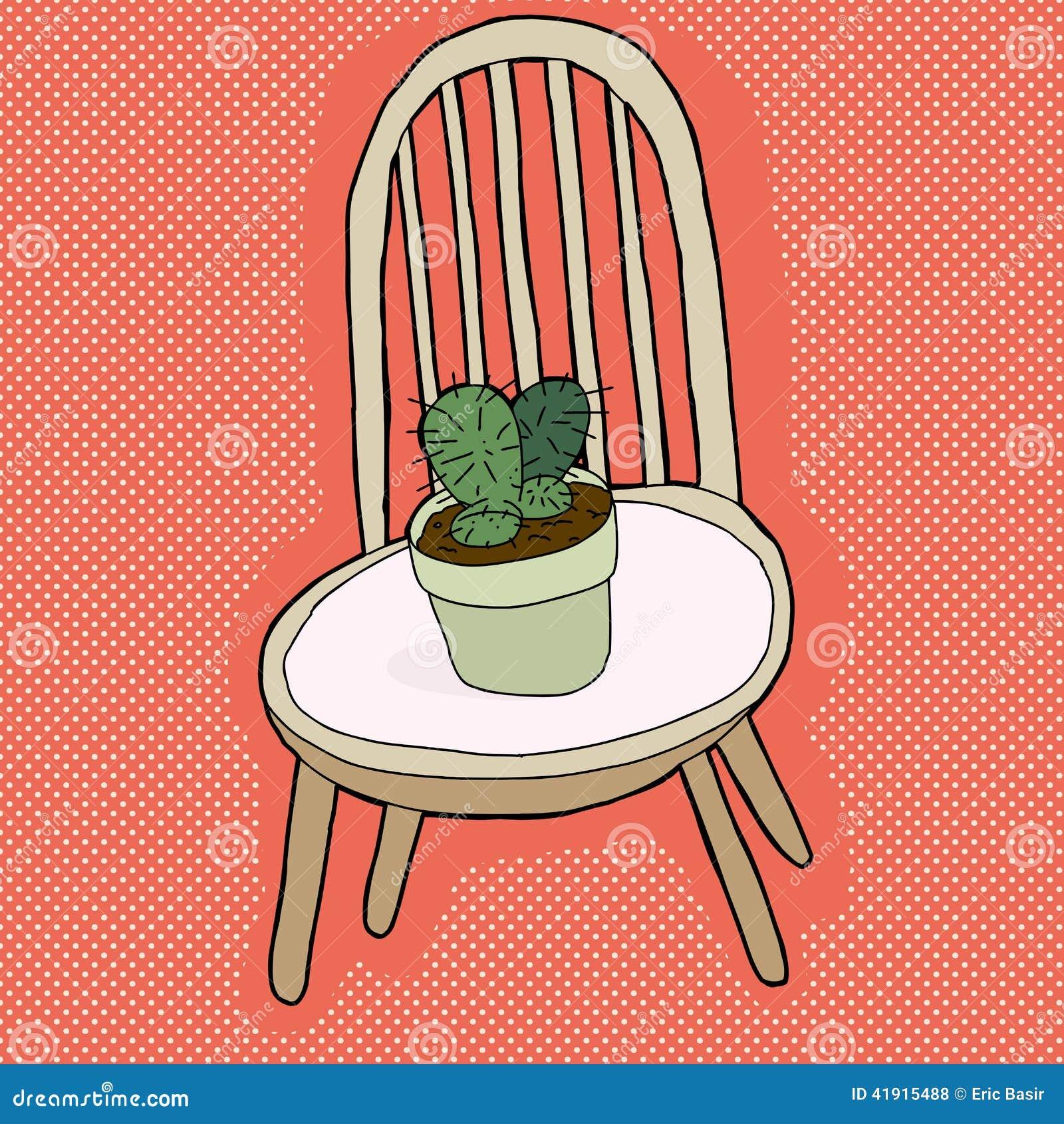 Planta del cactus en silla
