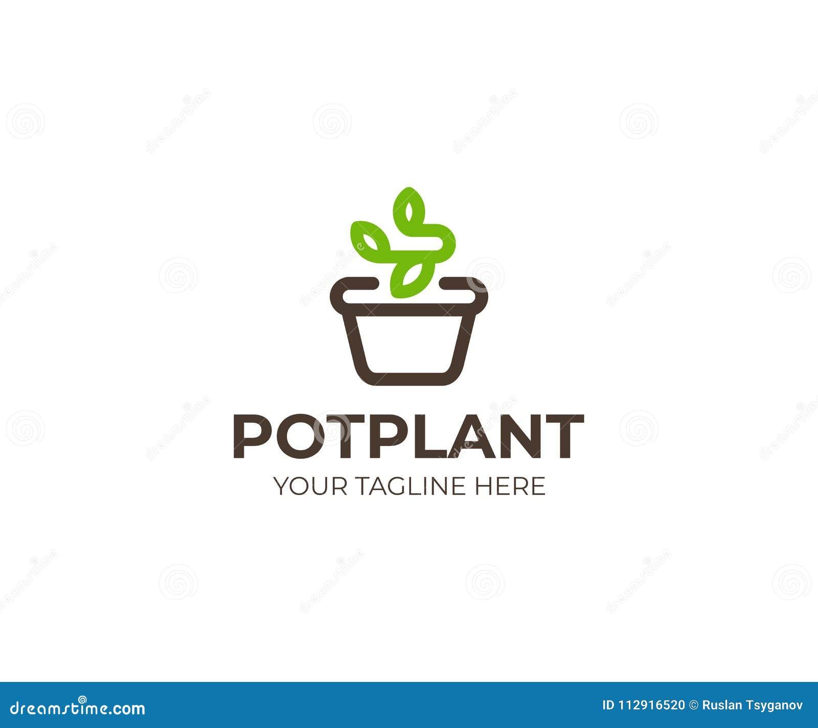 Planta en la plantilla del logotipo del pote Diseño del vector de la maceta y del brote