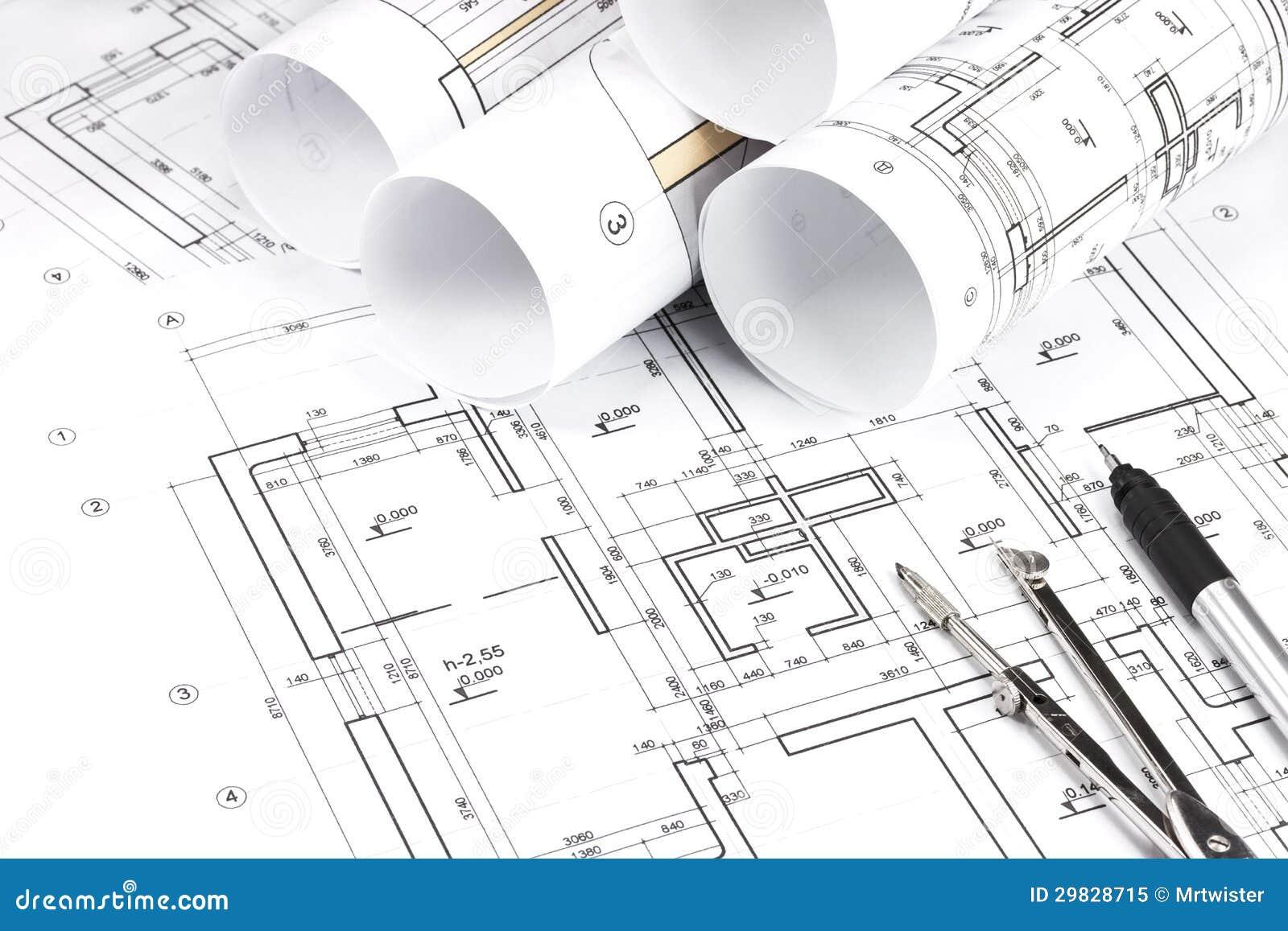 Planos de construção rolados