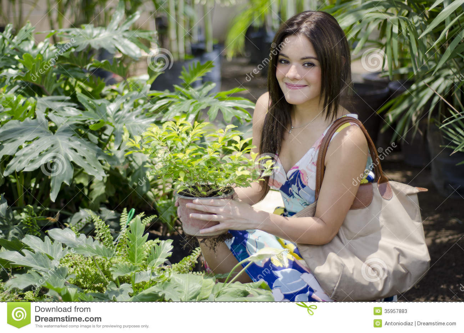 Plantas de compra lindas de la mujer joven
