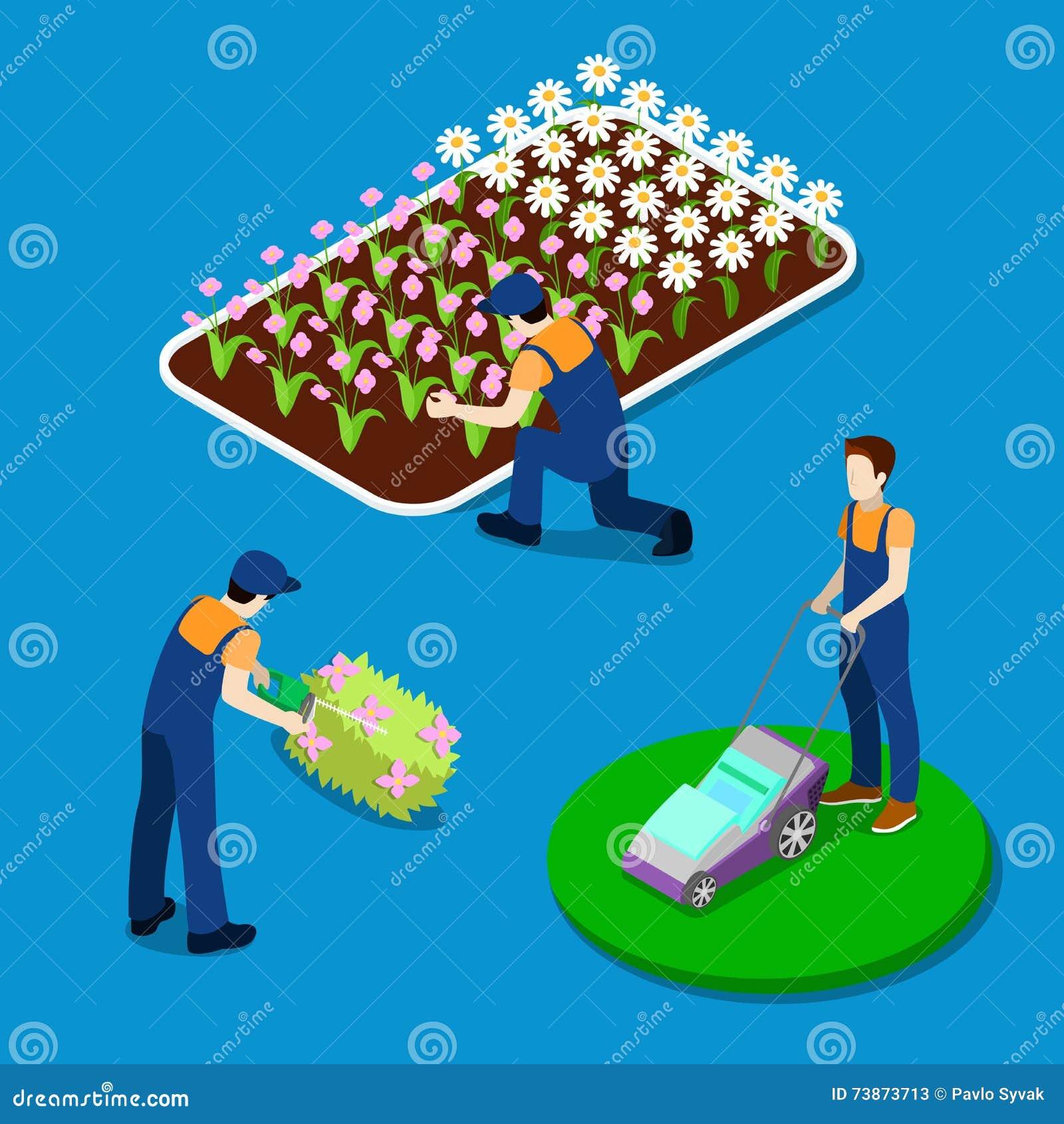 Plantas del ajuste del jardinero Gente isométrica