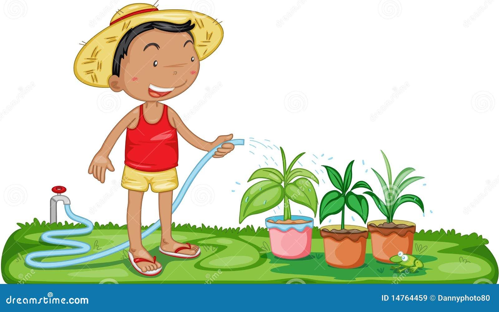 Plantas Molhando De Um Menino Imagens de Stock Royalty ...