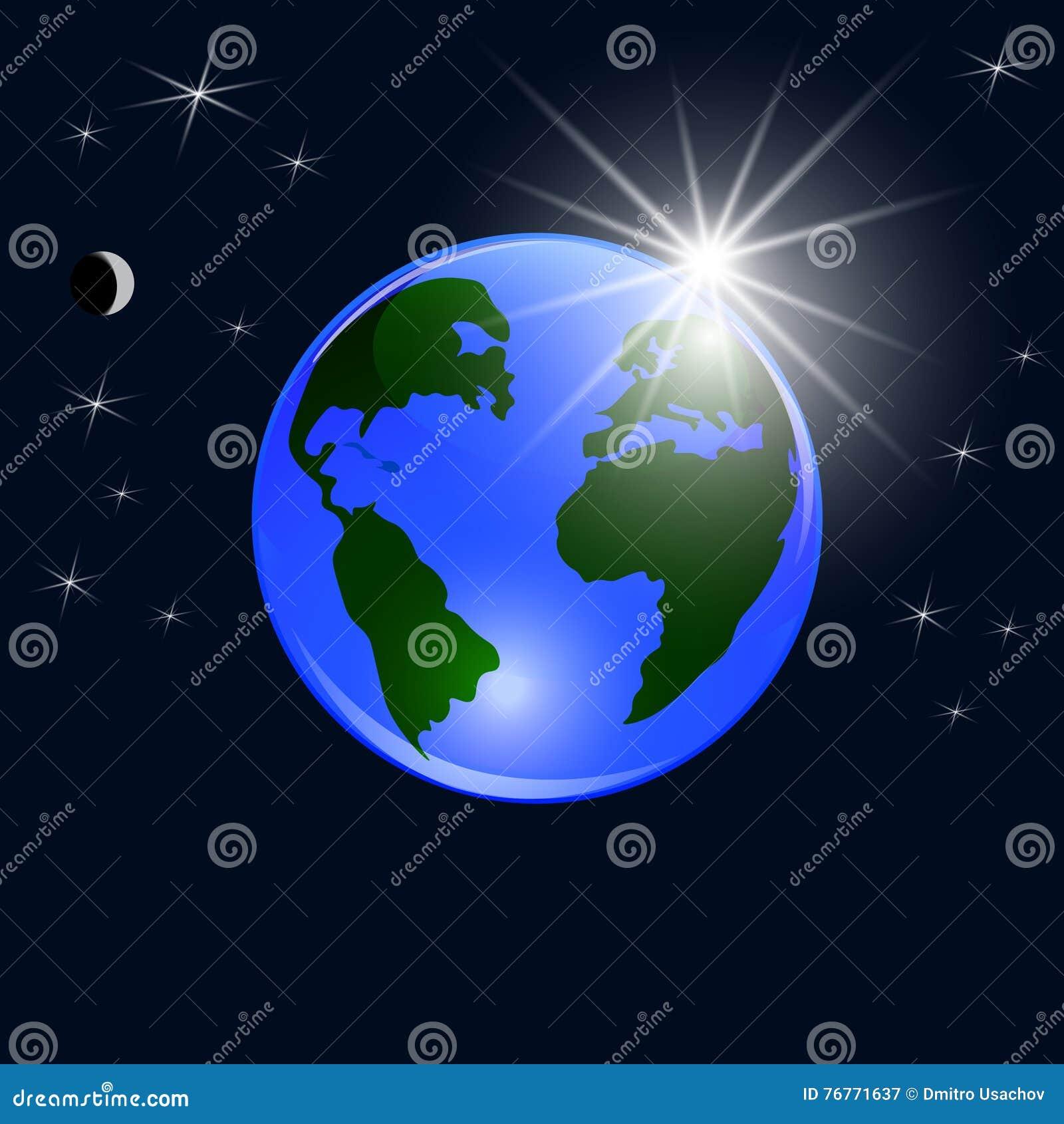 plan te bleue de la terre vue de l 39 espace la terre et au soleil levant boule brillante. Black Bedroom Furniture Sets. Home Design Ideas