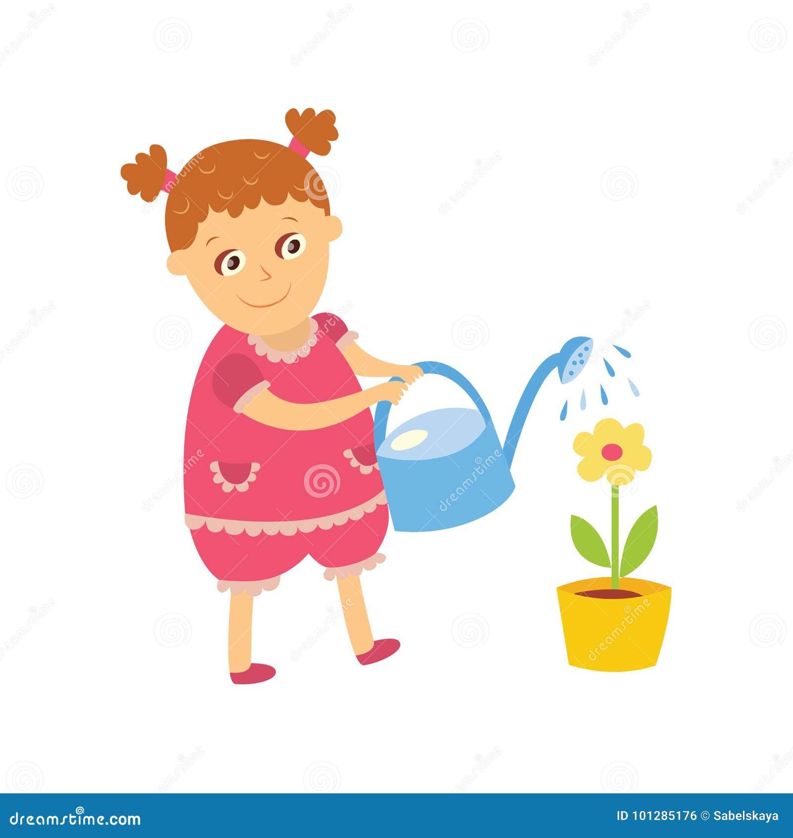 Arrosage Pour Plantes En Pot plante d'intérieur de arrosage de petite fille, fleur de pot