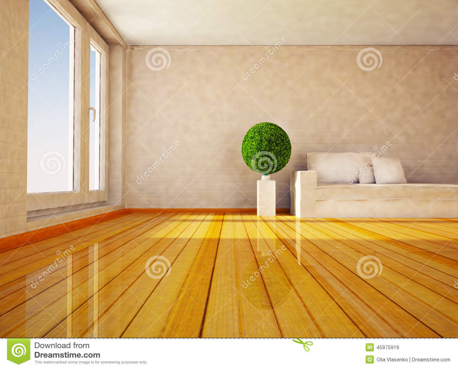 Plante verte ronde dans la chambre illustration stock - Plante dans une chambre ...