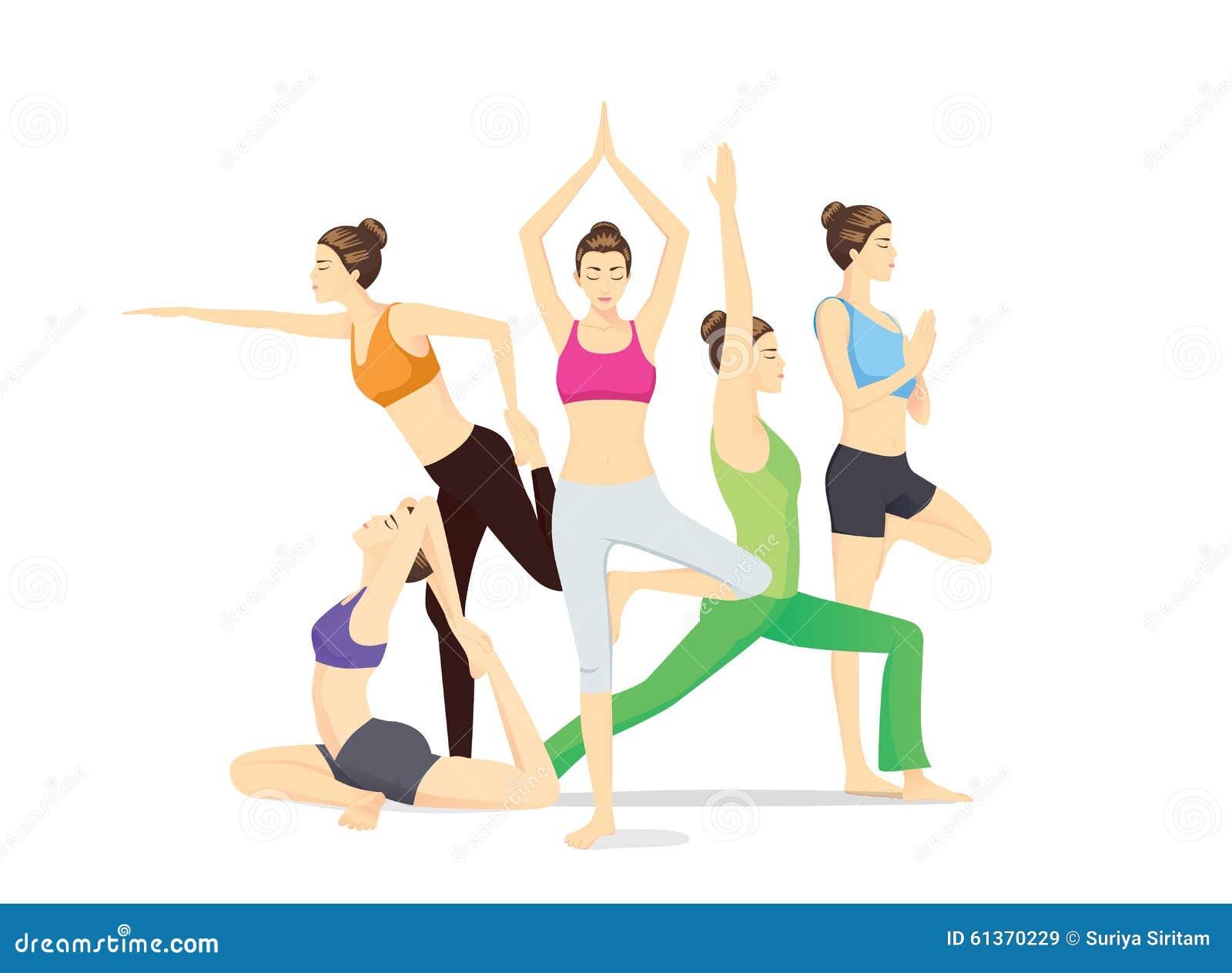 Grupo de las mujeres de la belleza en la ropa de deportes que plantea  diversa postura de la yoga. Más ilustraciones ... 455ae424d98b