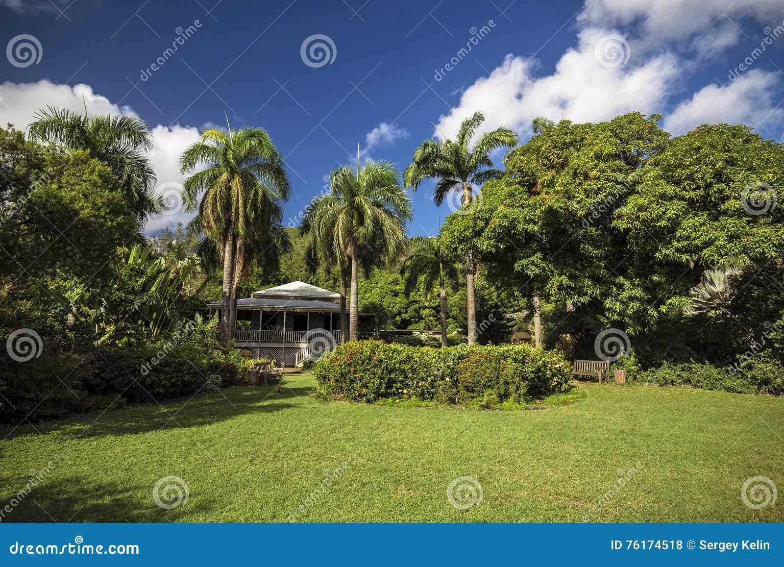 Plantershuis in botanische tuin Wegstad, Tortola