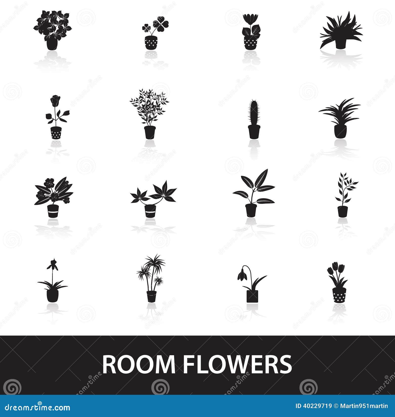 Plantes d intérieur et fleurs à la maison dans les icônes eps10 de pot