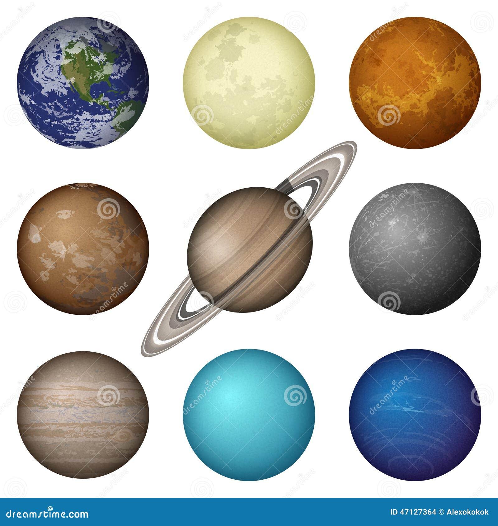 Plan tes de syst me solaire et lune ensemble illustration for Meuble urano