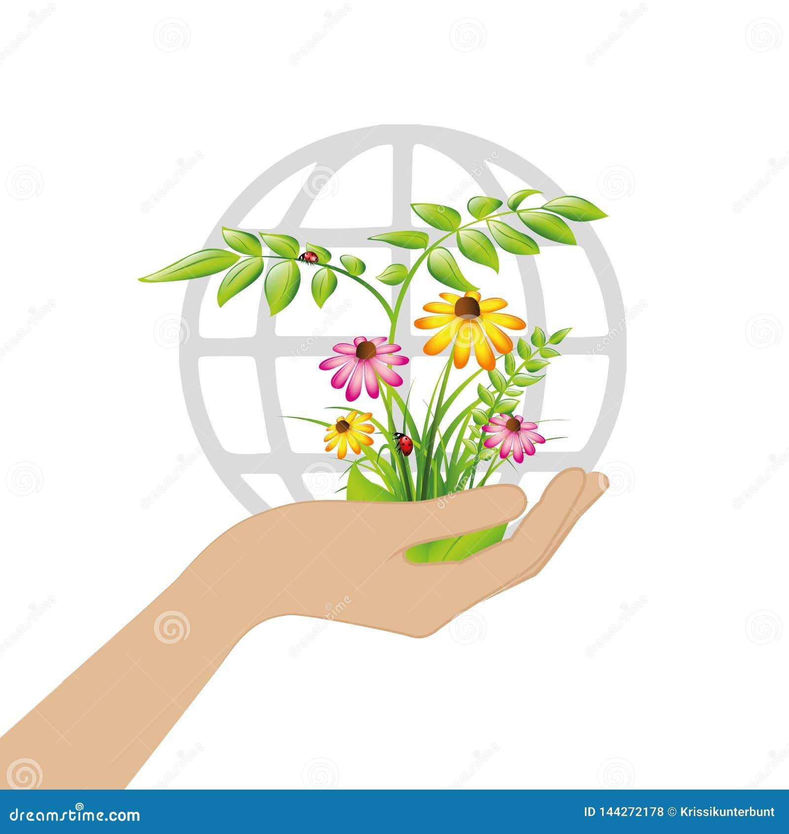Plantes et fleurs femelles de prise de main pour la terre