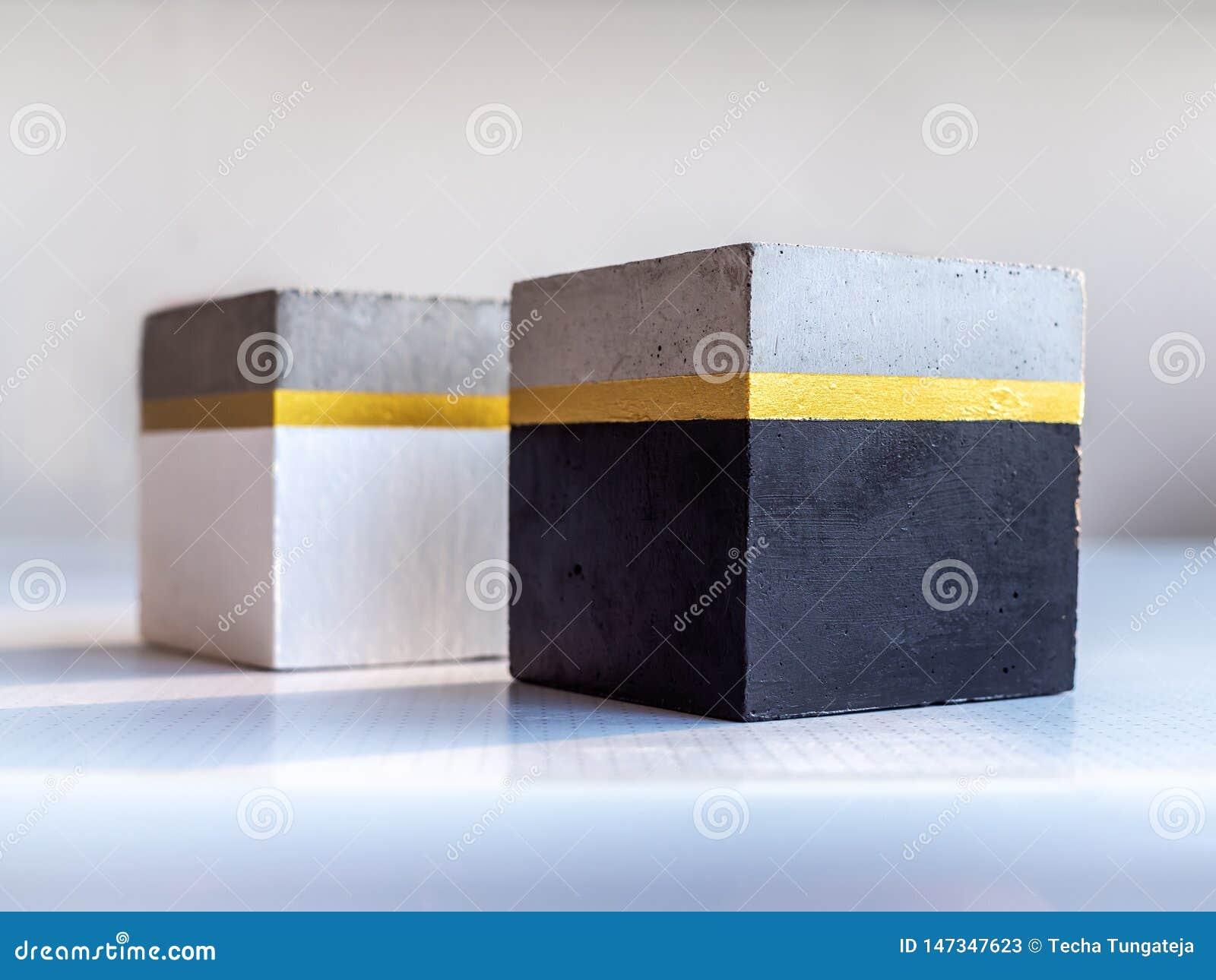 Planteur Concret Cubique Moderne Pot Concret Peint Pour La D ...
