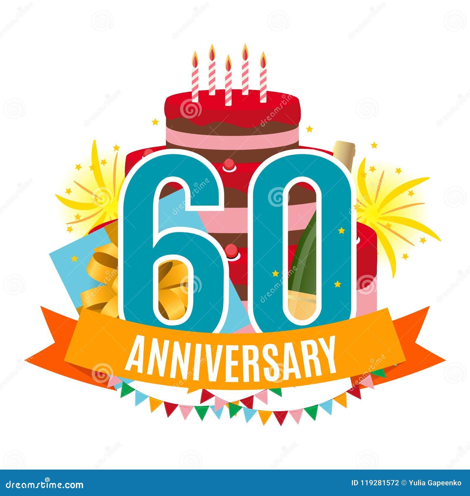 Plantilla 60 Años De Enhorabuena Del Aniversario Tarjeta De