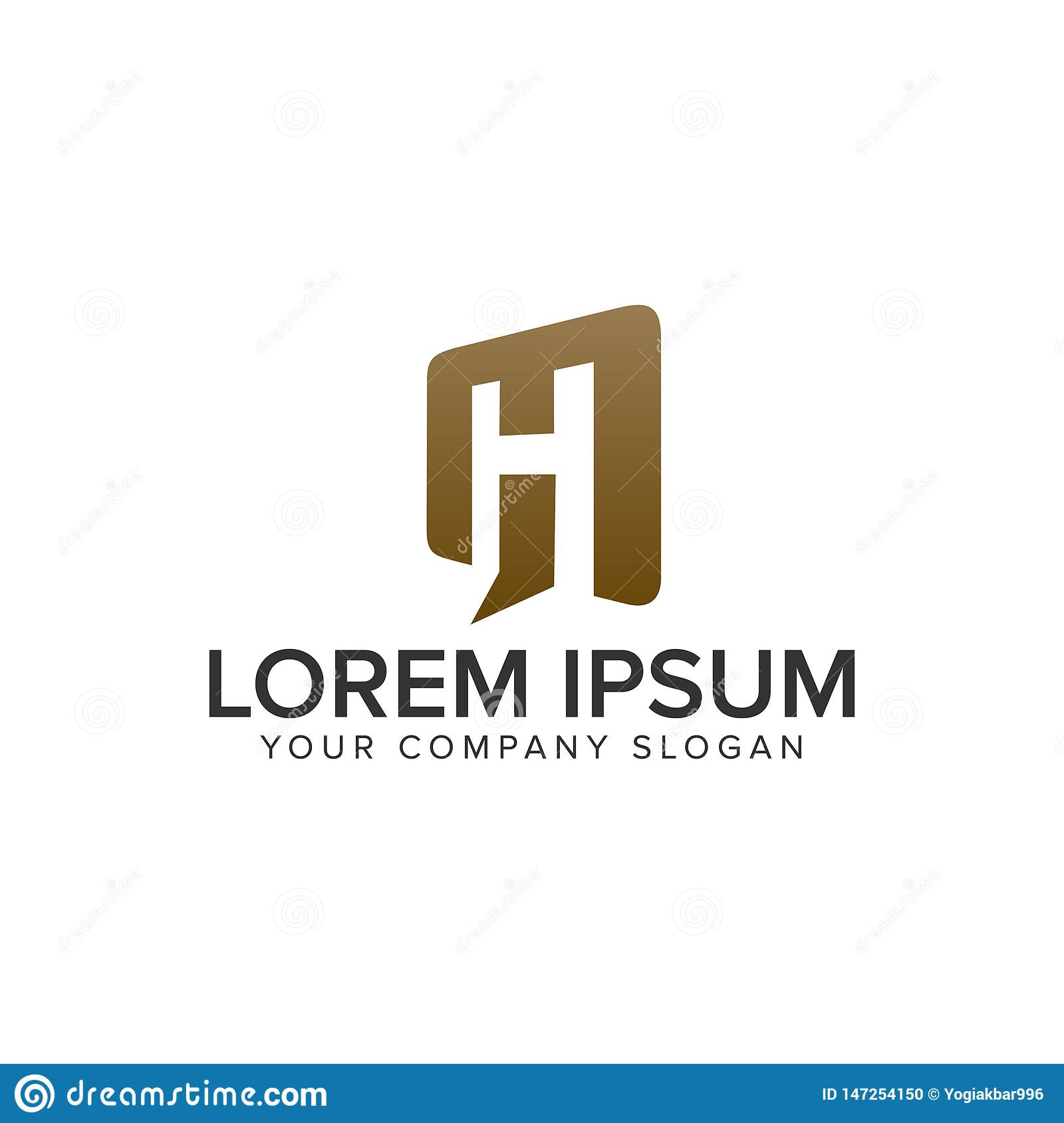 Plantilla abierta del concepto de diseño del logotipo de la puerta de la letra H Completamente editable