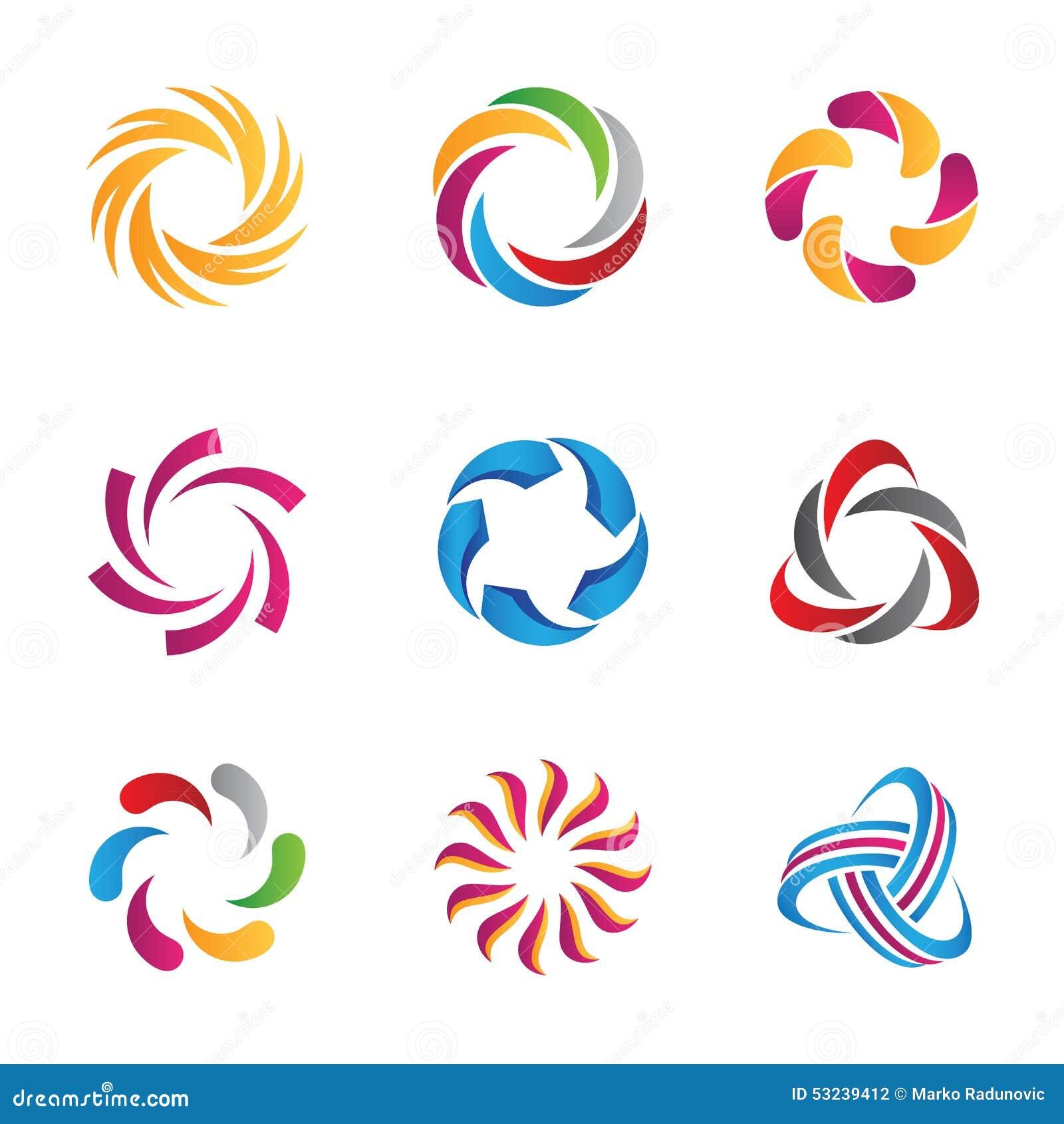 Plantilla abstracta de los logotipos y de los iconos del lazo