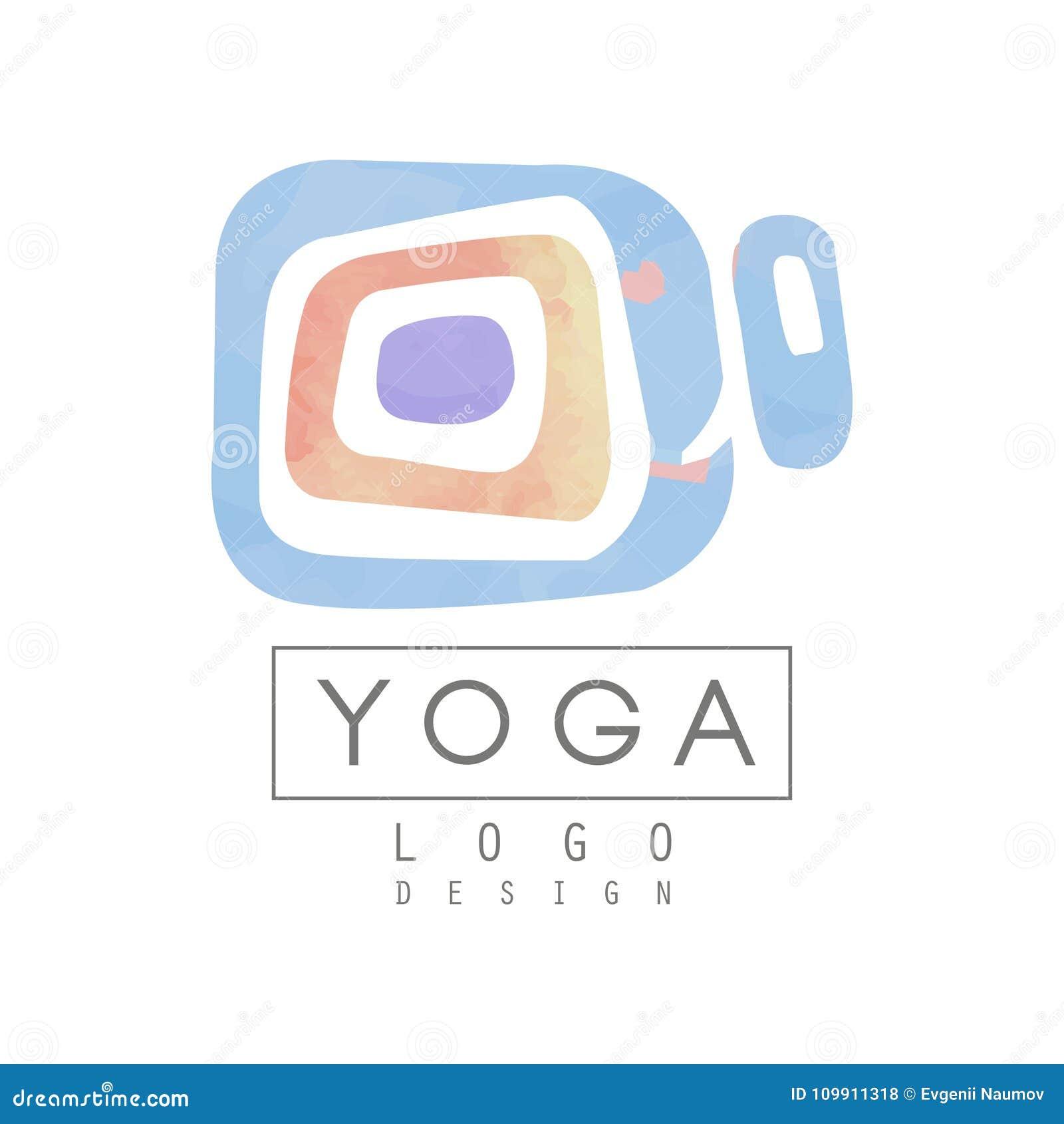 Plantilla abstracta del logotipo para el estudio de la yoga o el centro de la meditación Pintura de la acuarela Medicina alternat