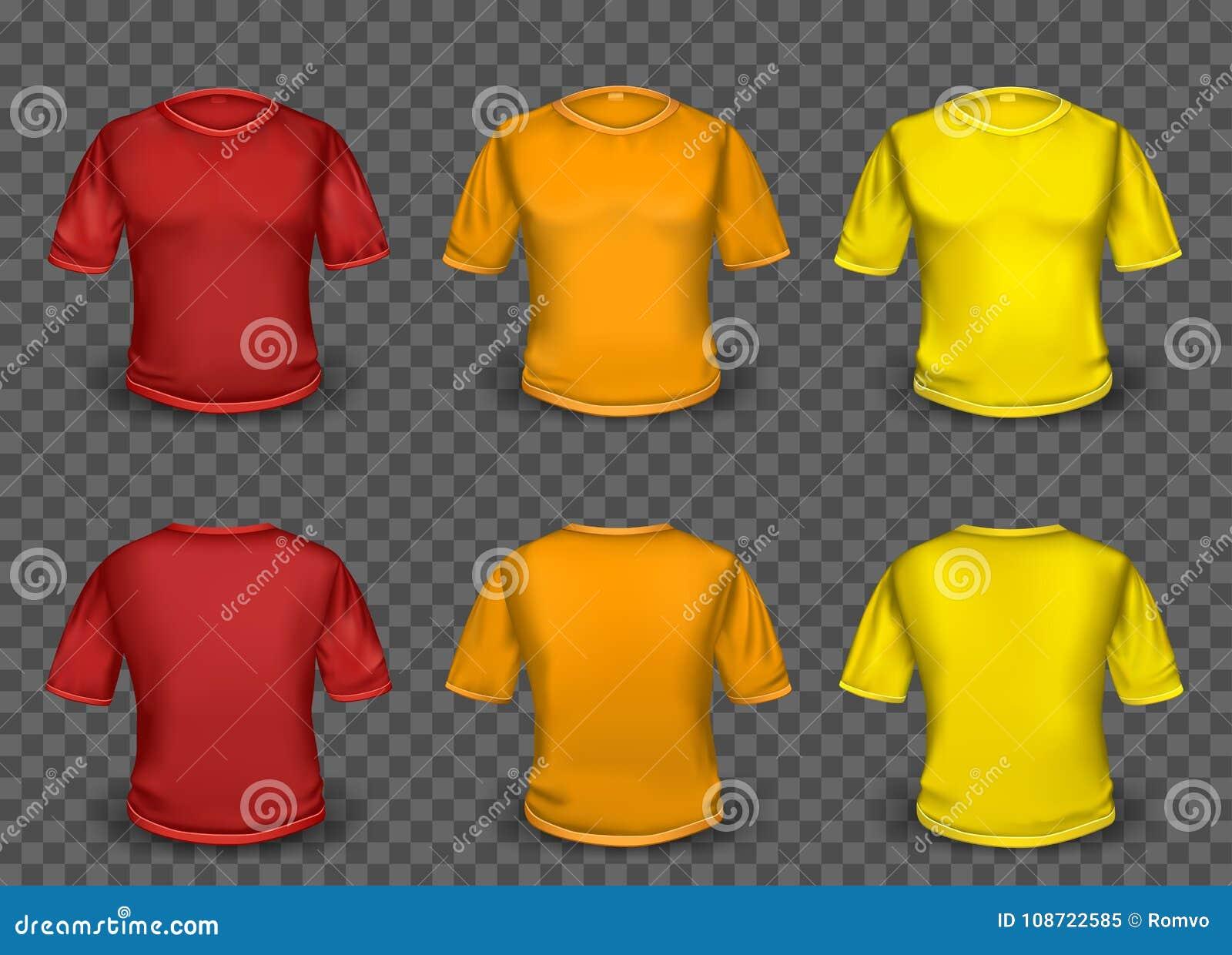 Plantilla Anaranjada Y Amarilla Roja De La Camiseta Ilustración del ...