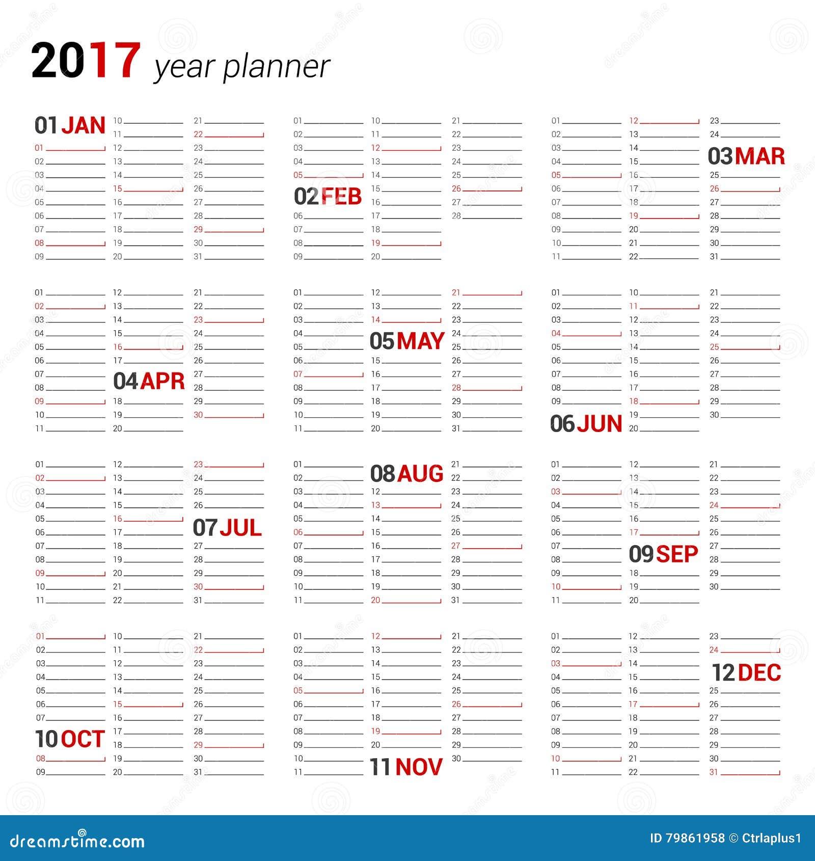 Plantilla Anual Del Planificador Del Calendario De Pared Para 2017 ...