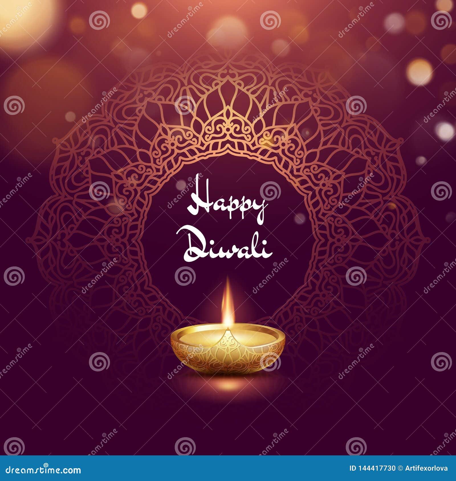 Plantilla ardiendo de la tarjeta del diya del festival feliz de Diwali EPS 10