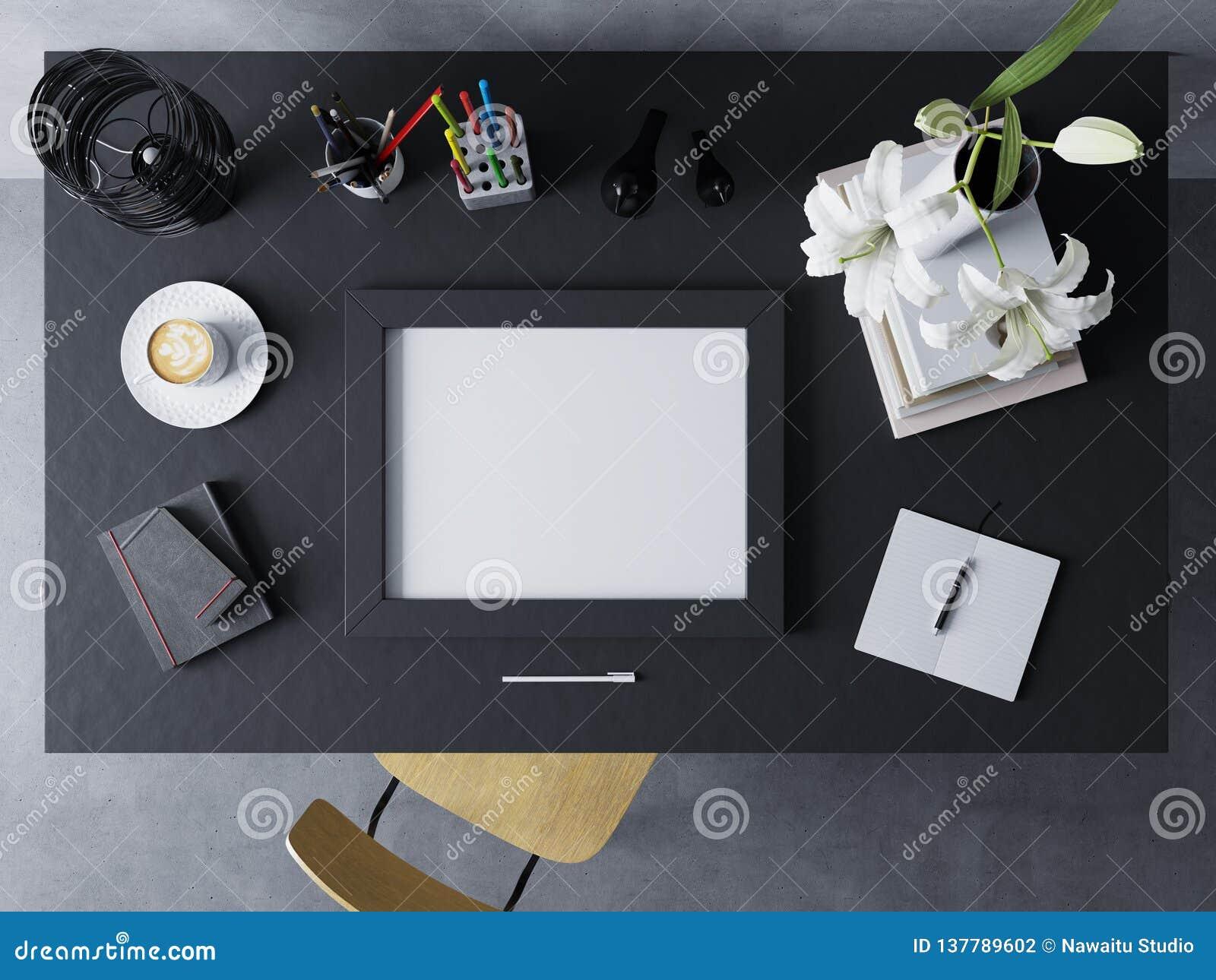 Plantilla ascendente falsa del diseño para mostrar las ilustraciones del cartel vacío en espacio de trabajo moderno en el marco h
